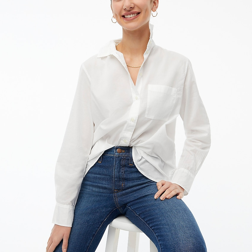 j.crew factory: petite high-low relaxed button-up top for women, right side, view zoomed