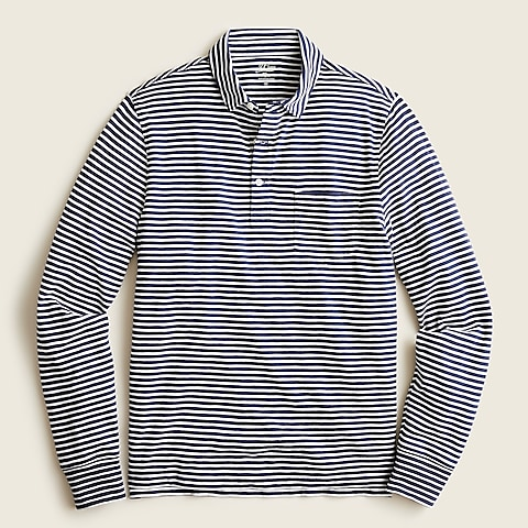 mens Tall Long-sleeve garment-dyed slub cotton pocket polo shirt in stripe