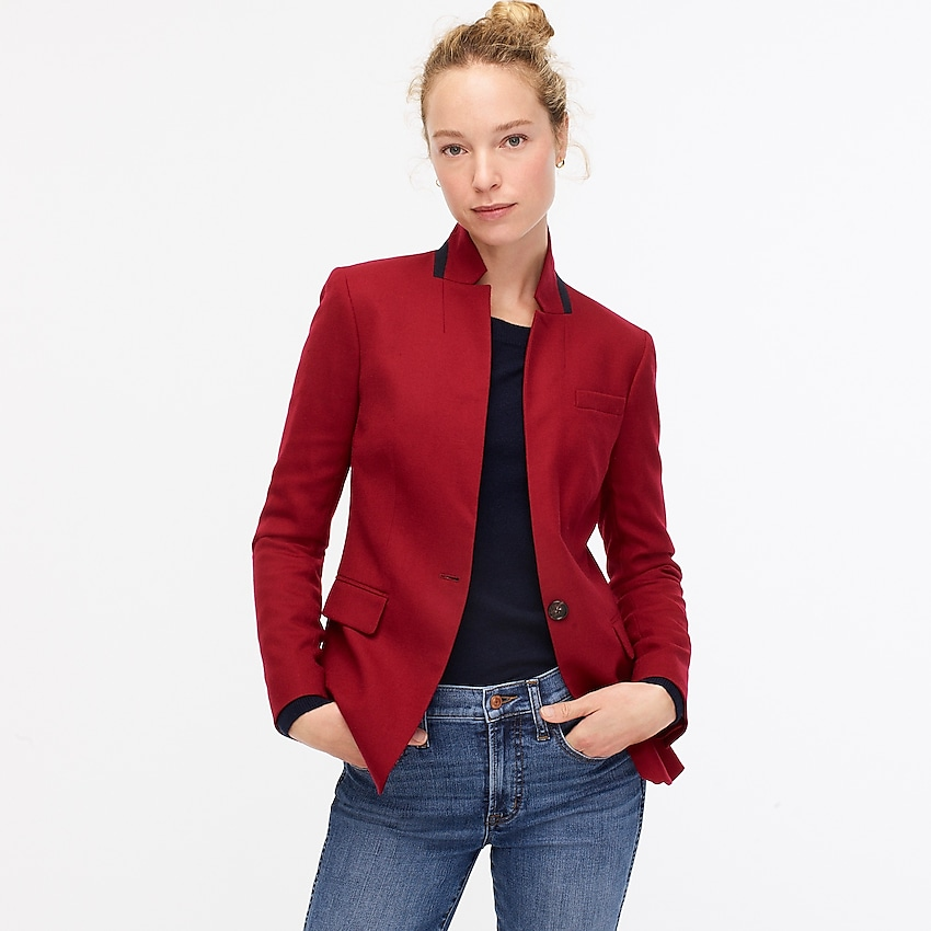 j.crew: regent blazer in wool flannel for women, right side, view zoomed