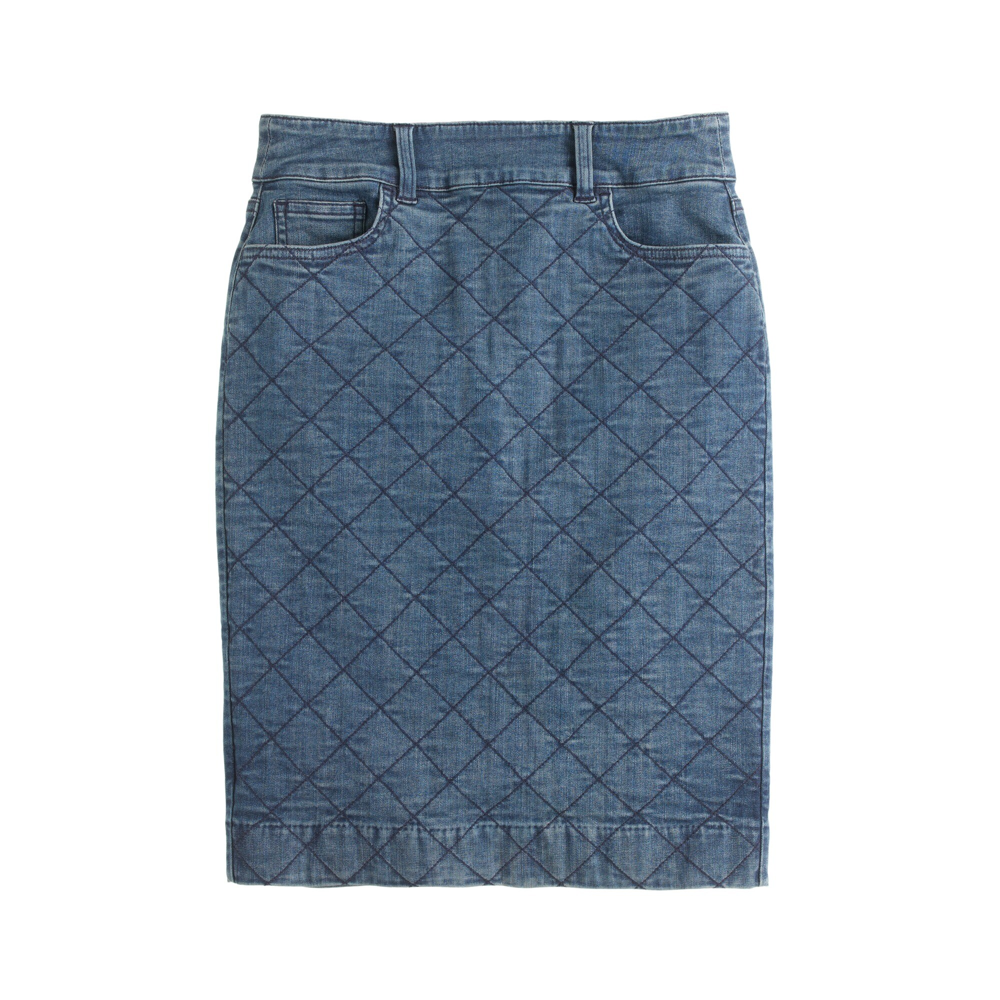 Quilted denim pencil skirt