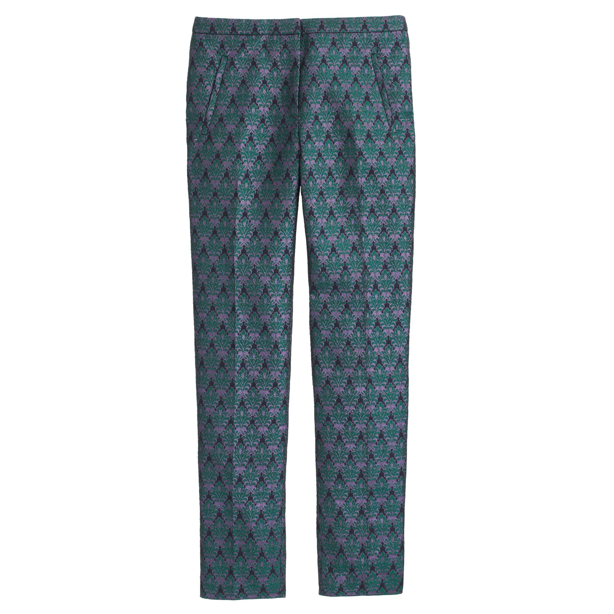 Collection cigarette pant in metallic jacquard