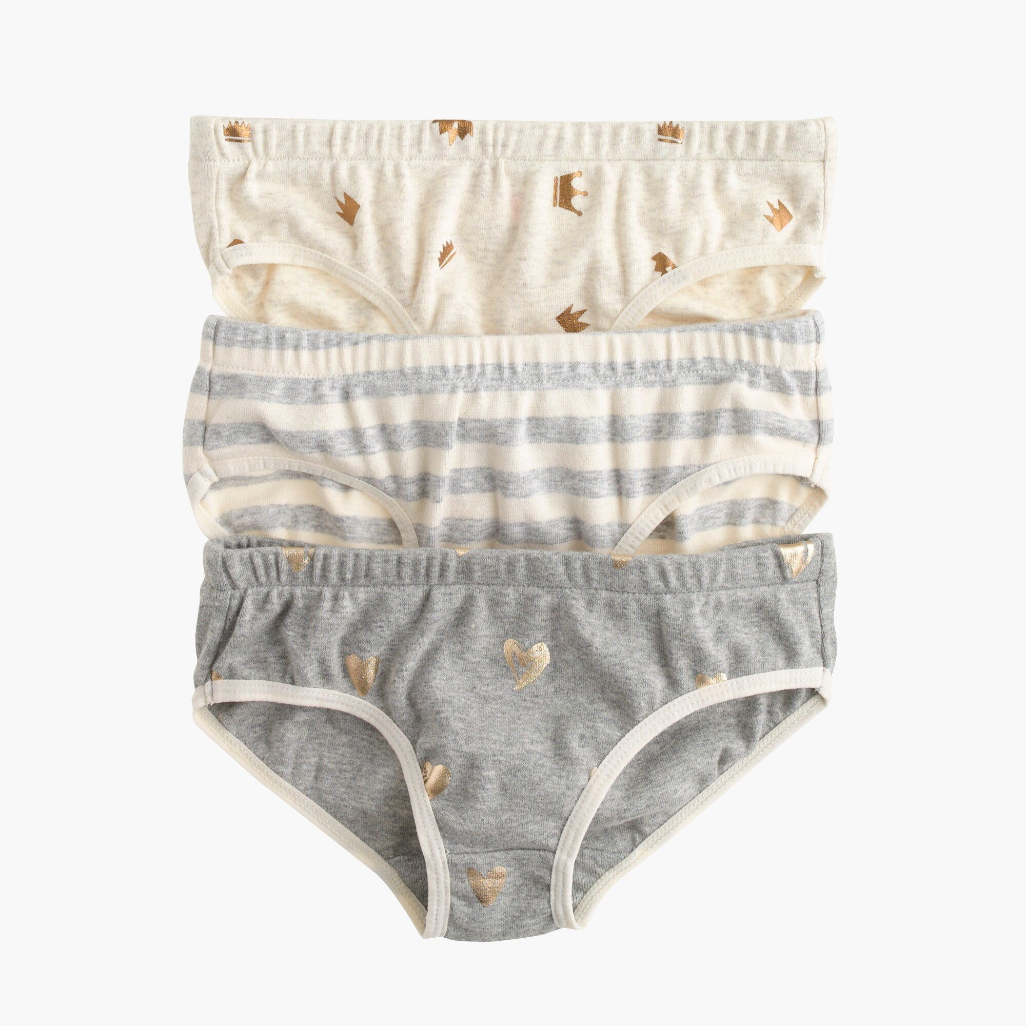 girls' girls' underwear three-pack in stripe heart - girls' seasonal