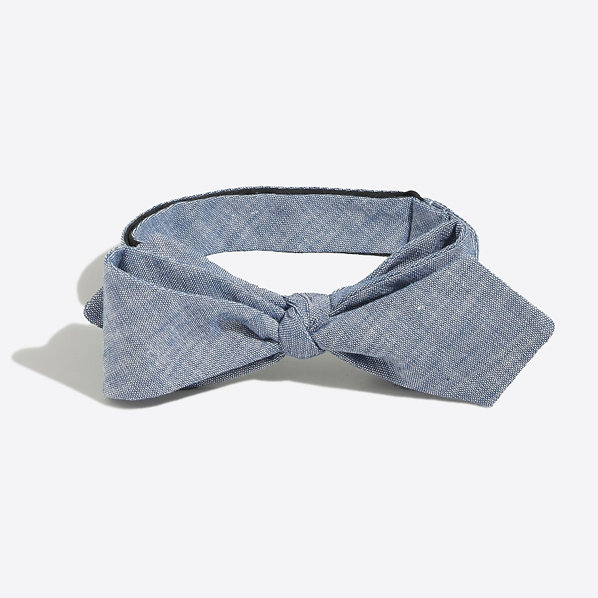 j.crew factory: faded chambray bow tie for men, right side, view zoomed