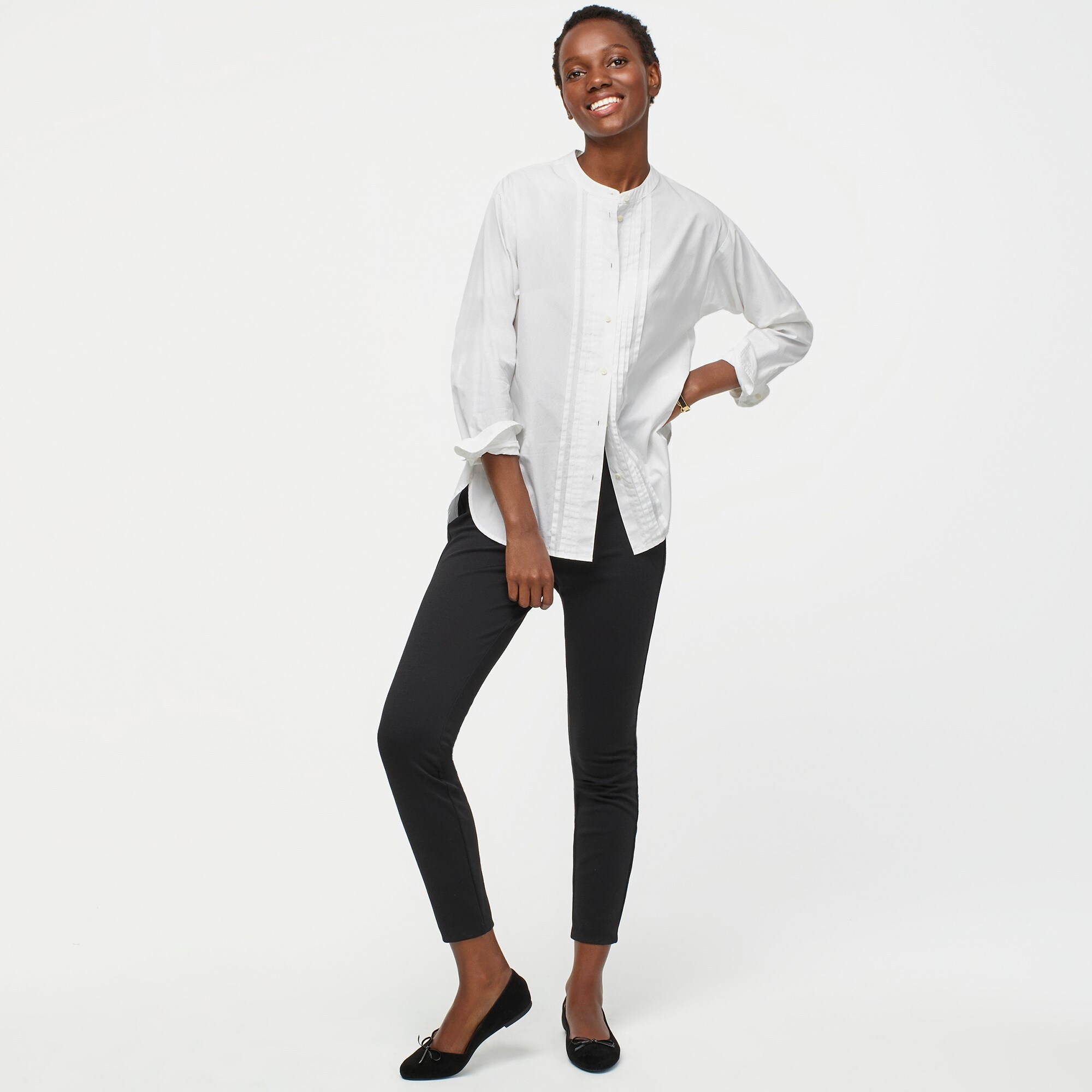 Thomas Mason® for J.Crew collarless tuxedo shirt women j.crew in good company c