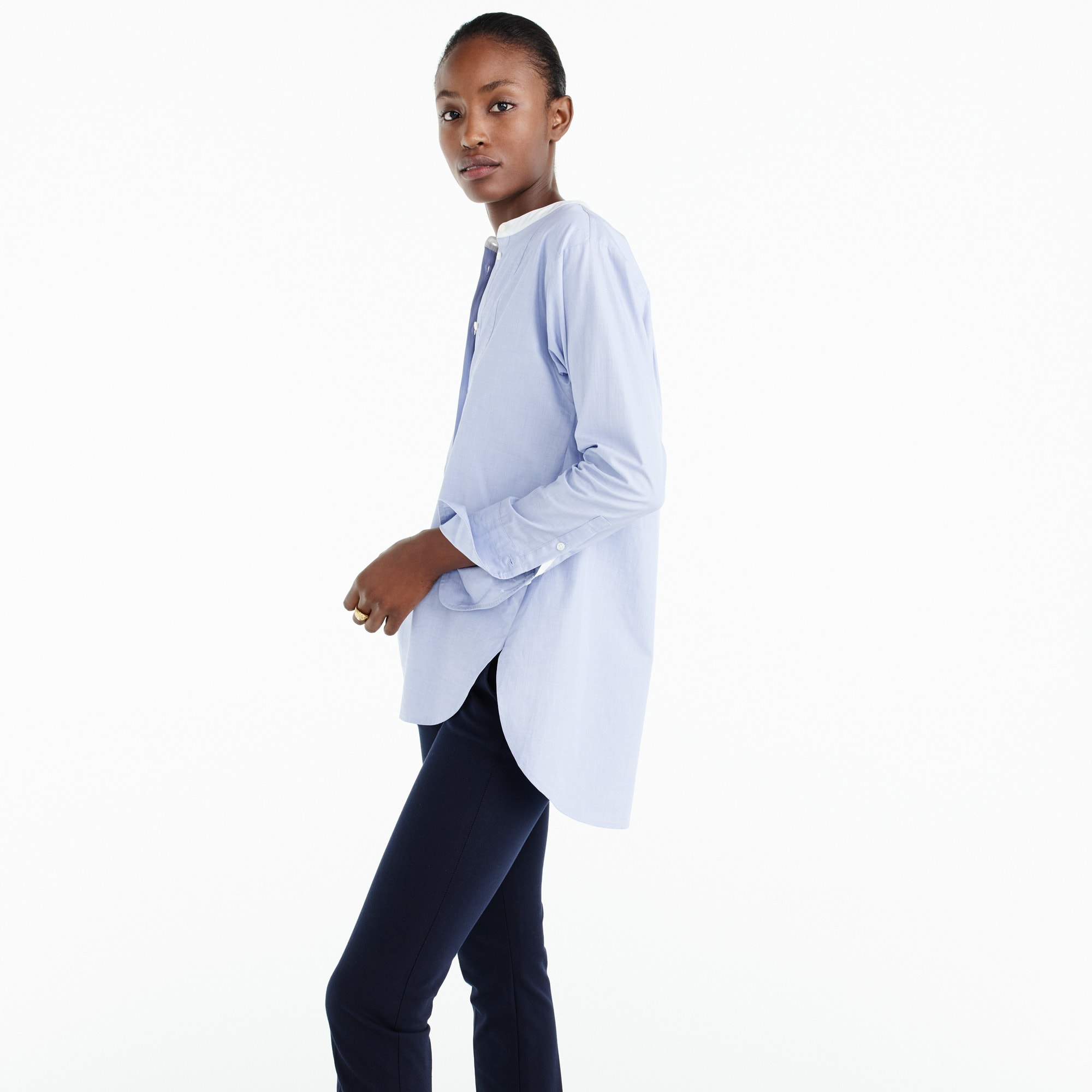 Thomas Mason® for J.Crew collarless shirt