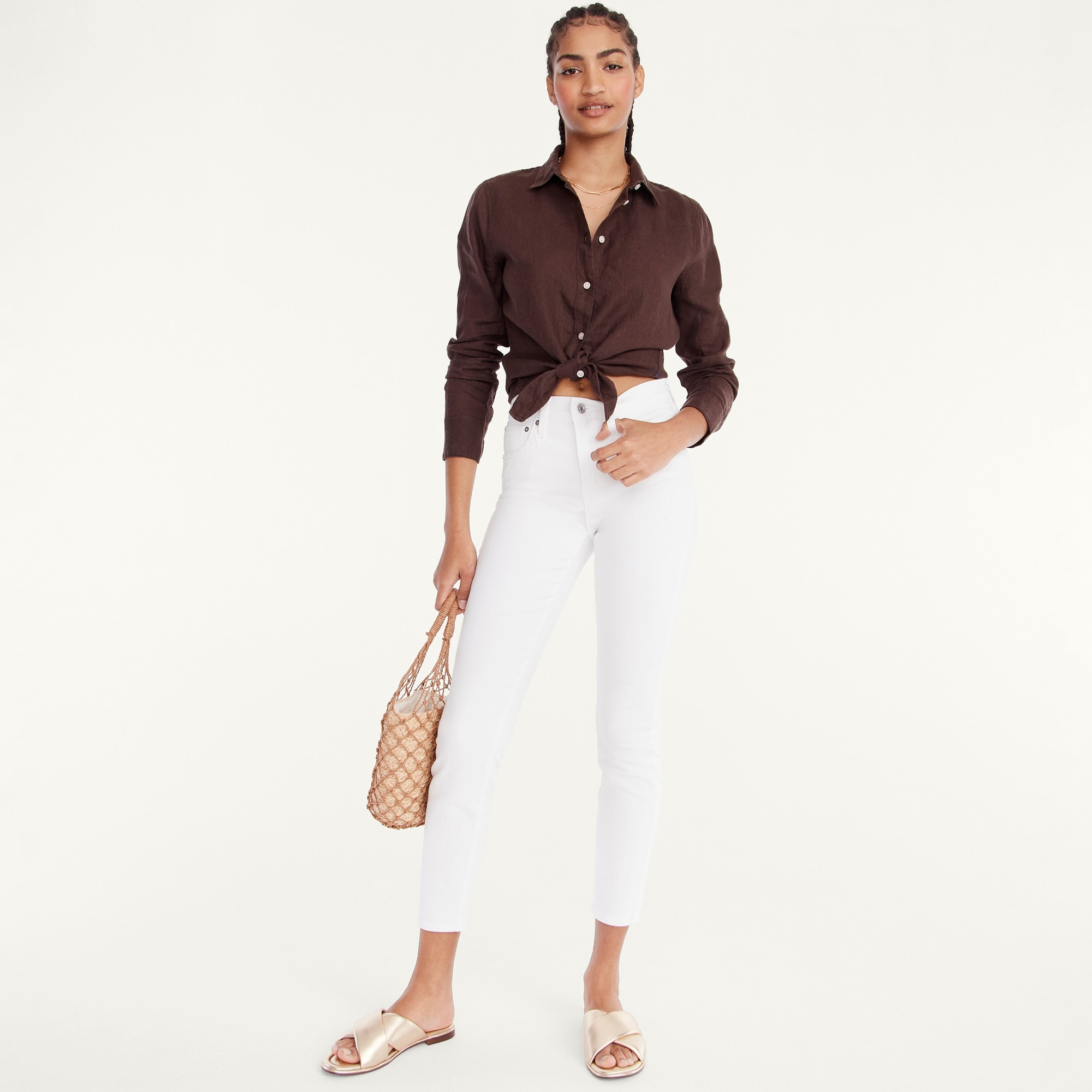 "womens Tall 9"" high-rise toothpick jean in white"
