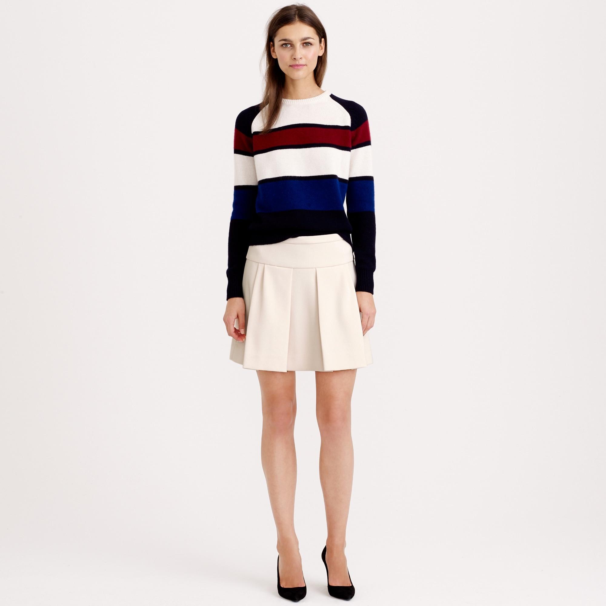 box pleat skirt in crepe : women mini