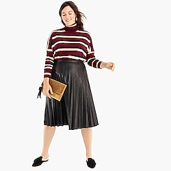 Petite faux-leather pleated midi skirt