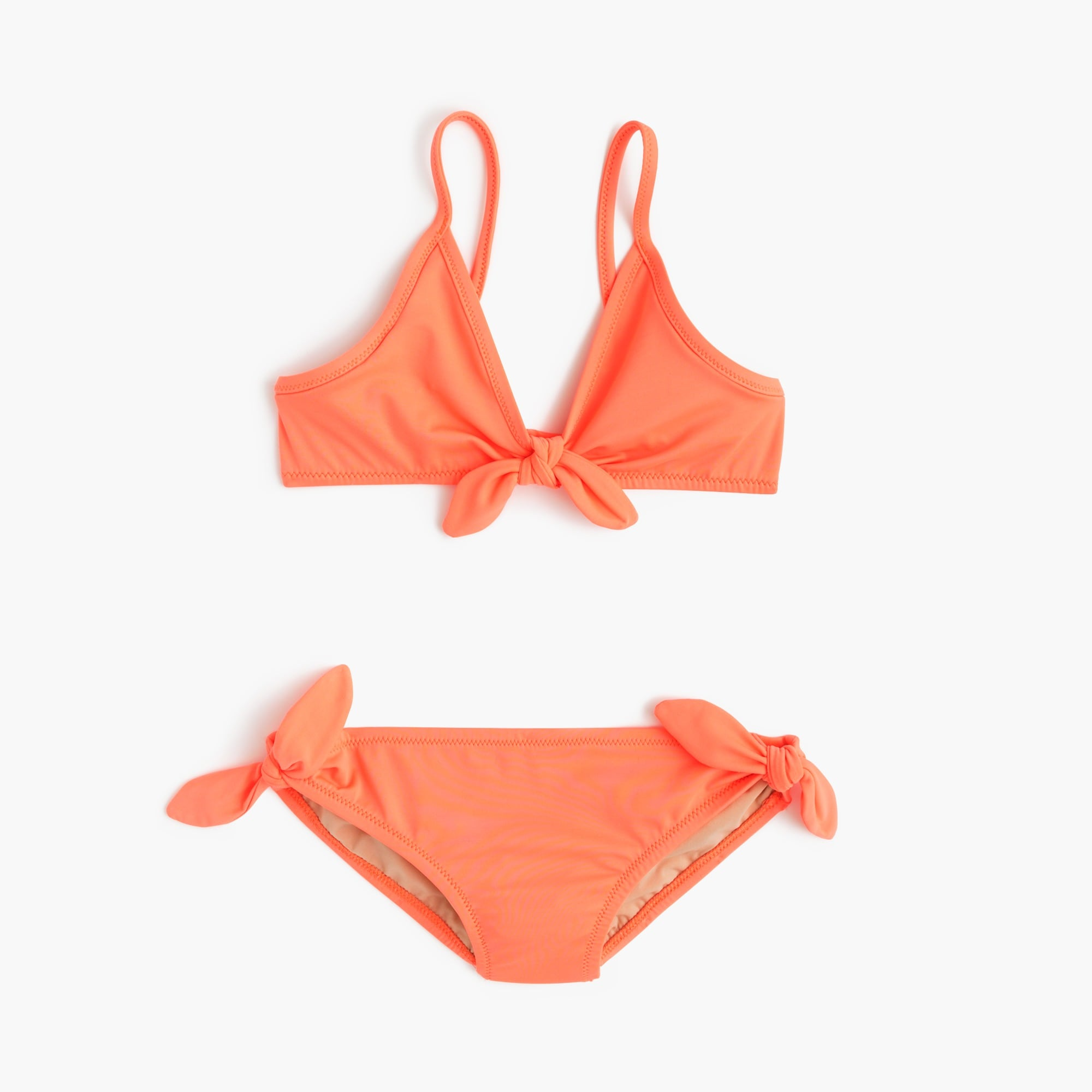 girls' bow bikini set in neon : girl solids