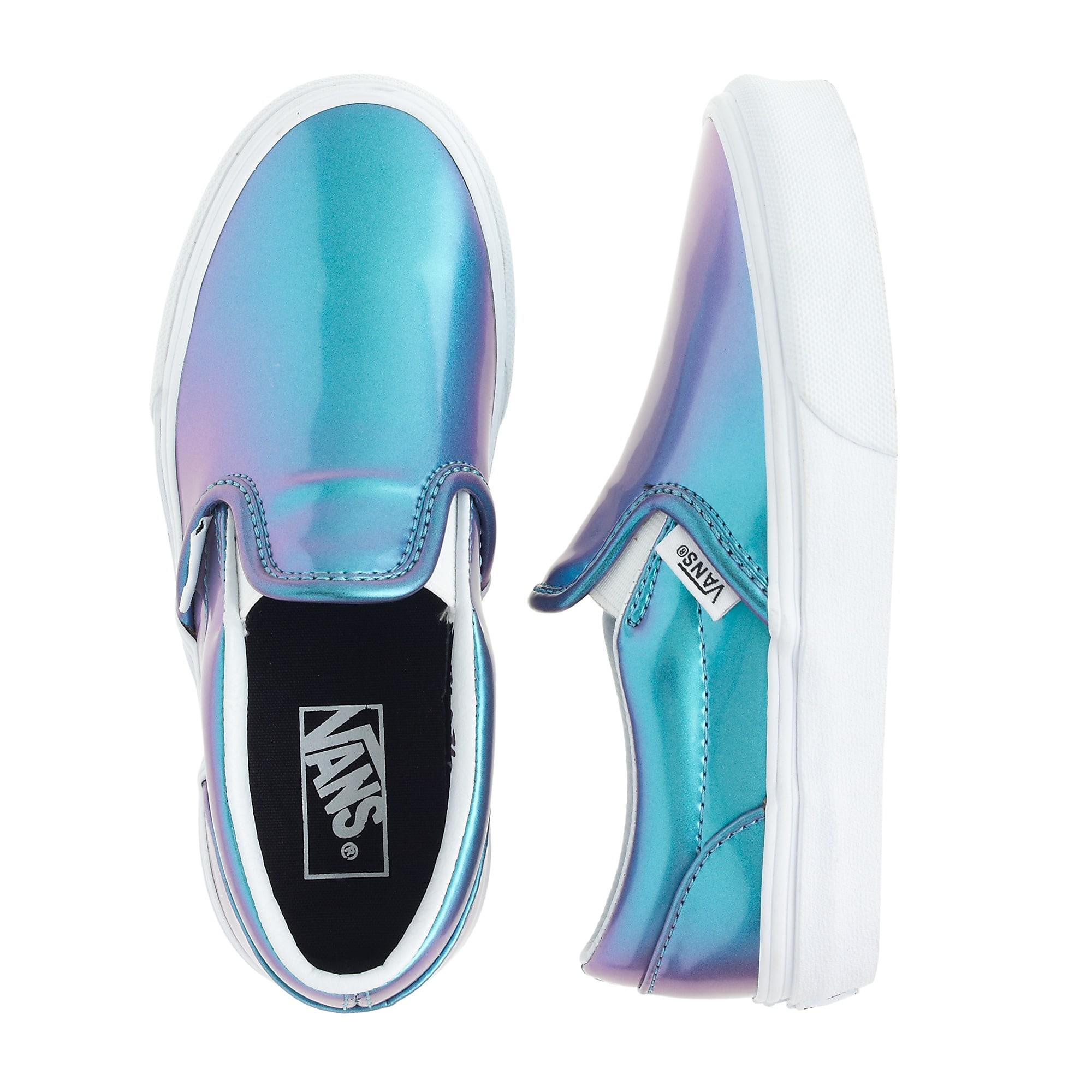 786f122f8ff2be Girls  Vans® classic slip-on sneakers in blue patent leather   Girl ...