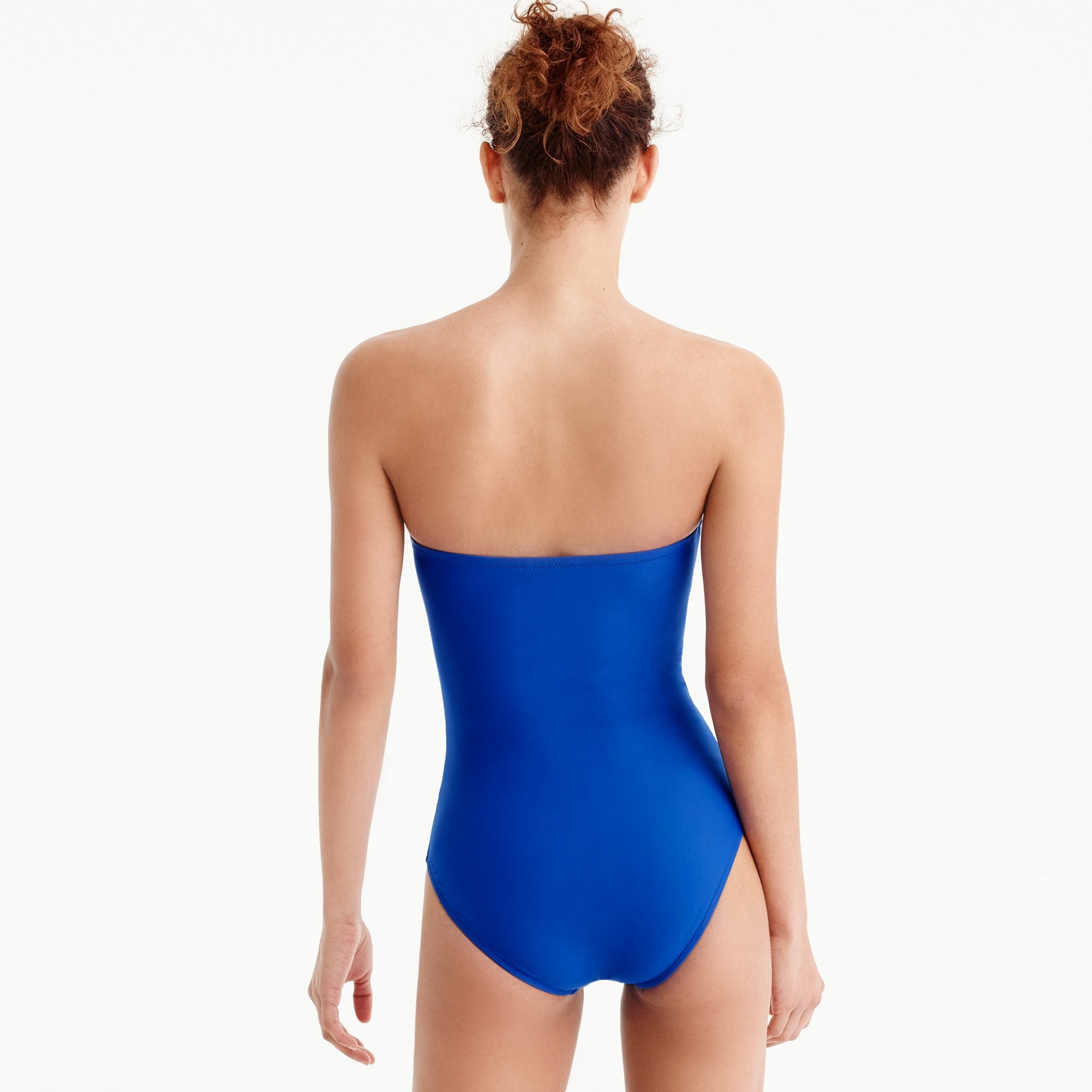 DD-cup ruched bandeau one-piece swimsuit