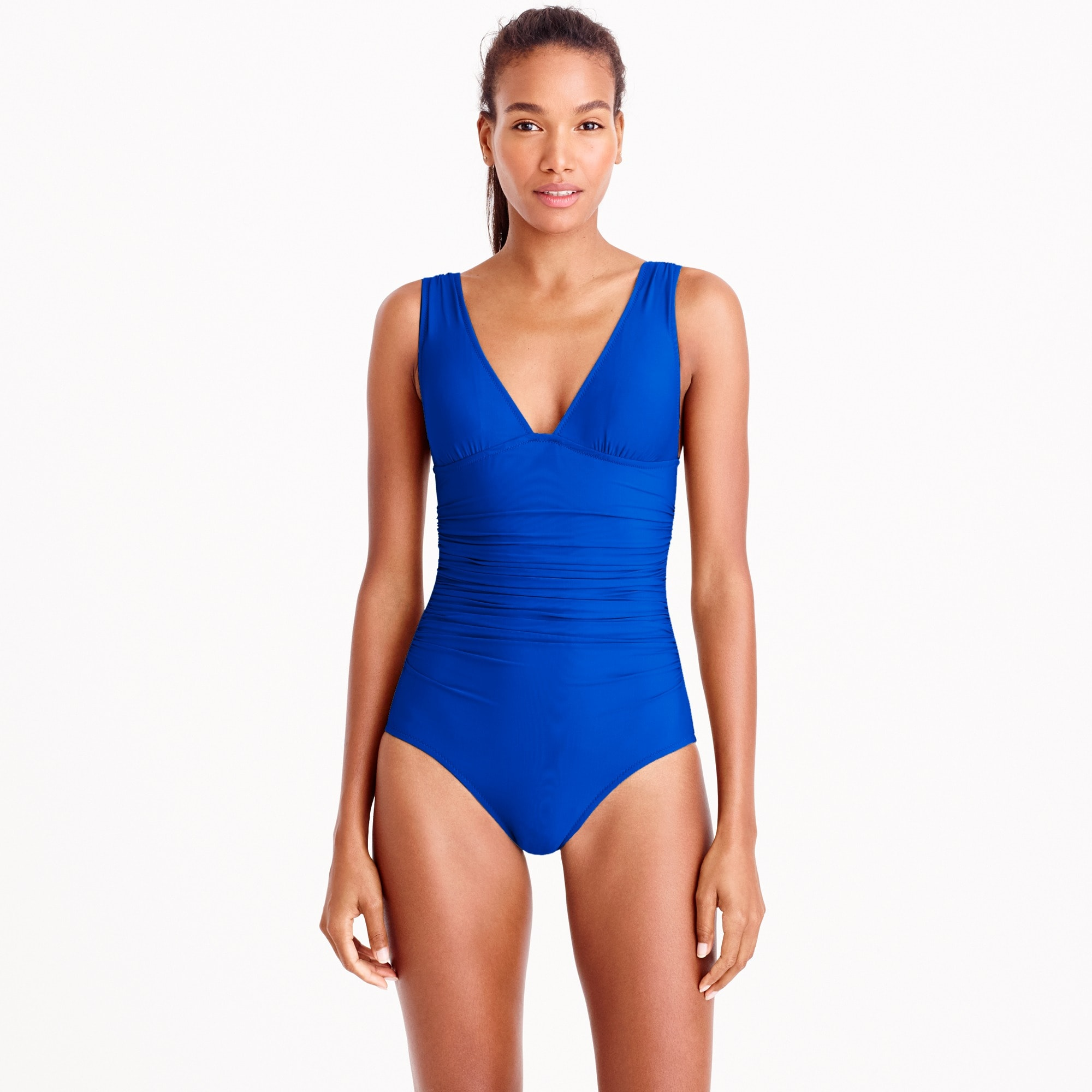 Long torso ruched femme one-piece swimsuit