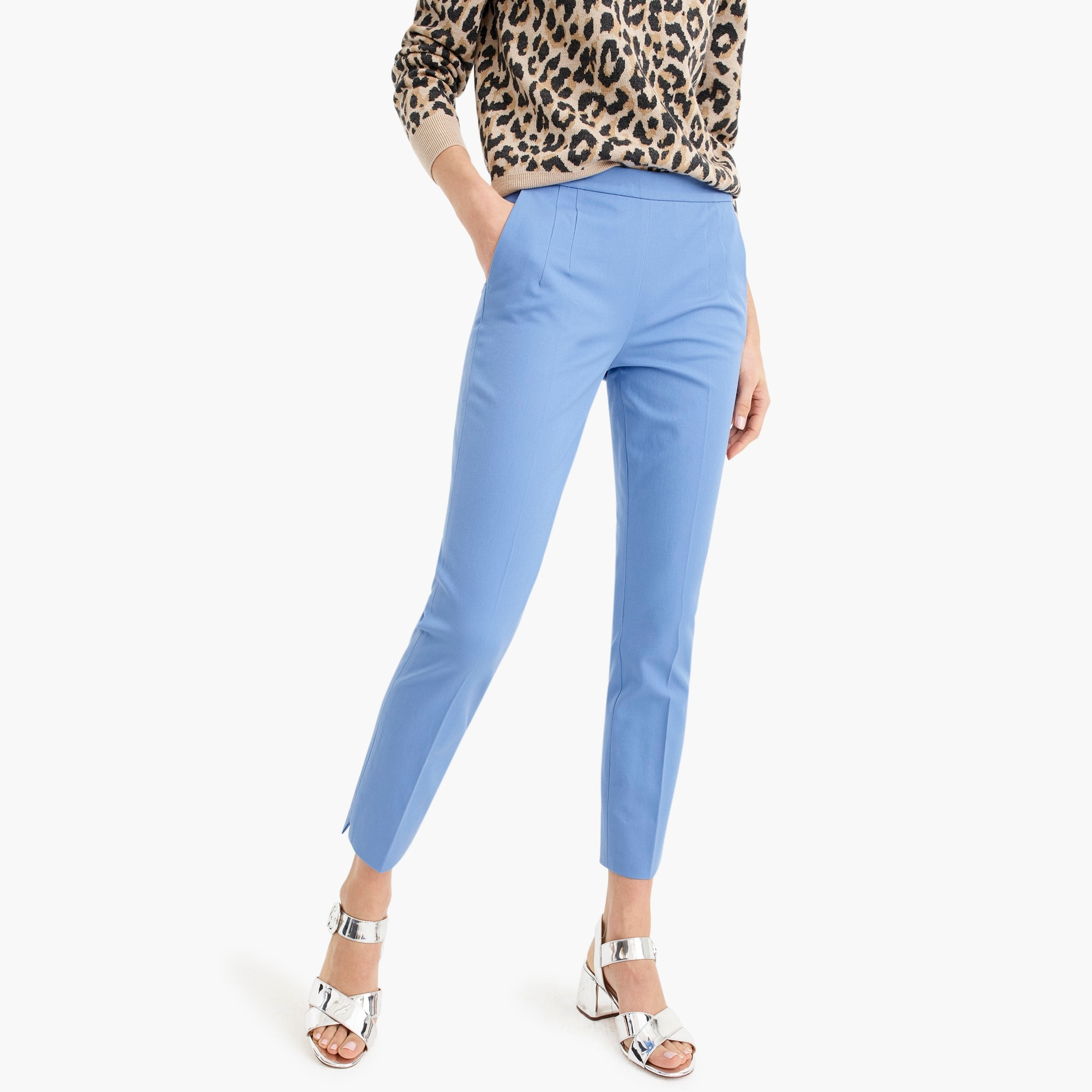 martie slim crop pant in two-way stretch cotton with side zip