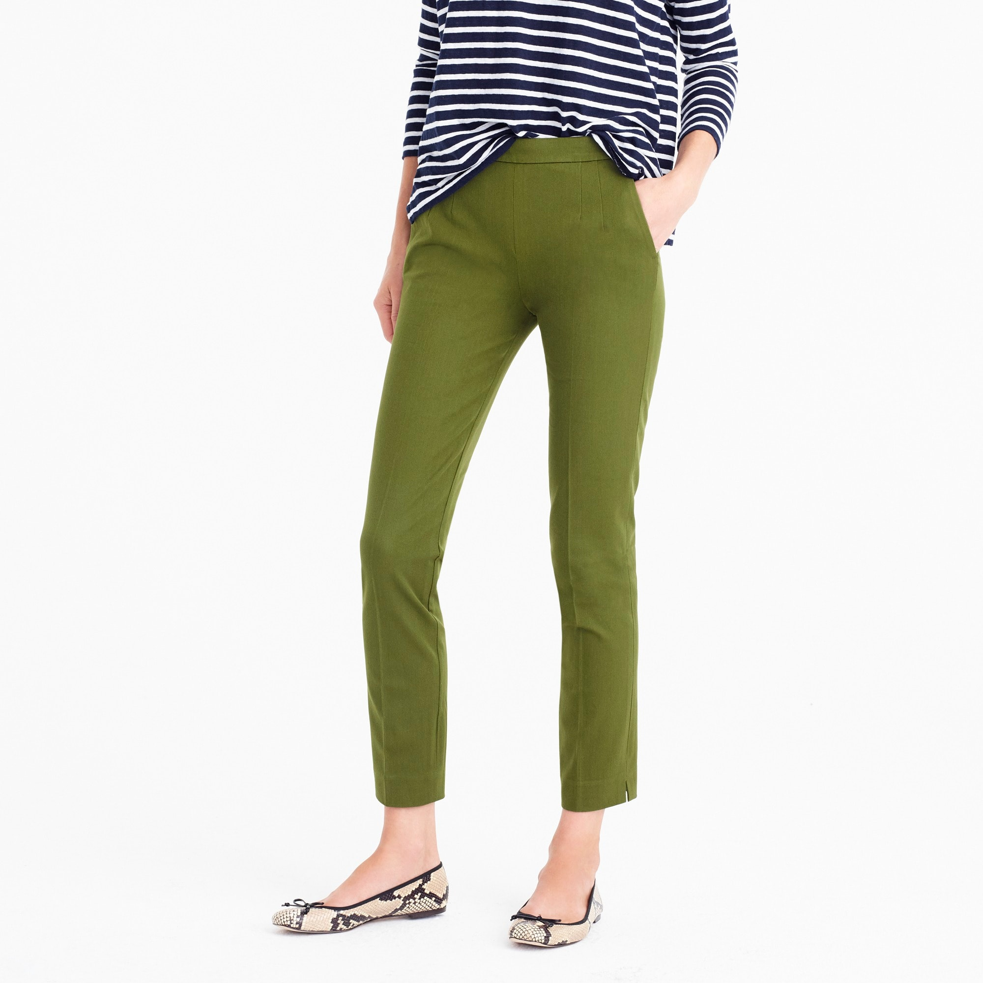 Petite Martie slim crop pant two-way stretch cotton
