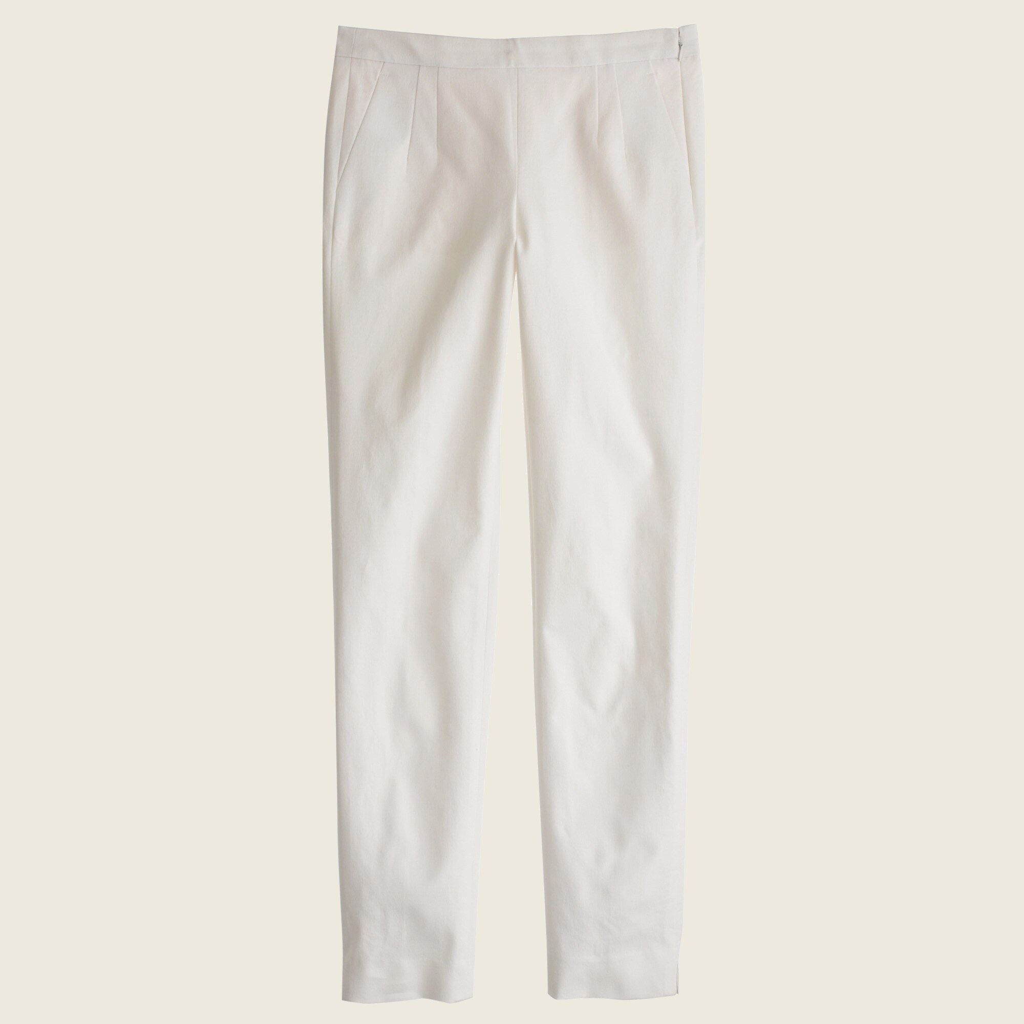 Tall Martie slim crop pant in stretch cotton with side zip
