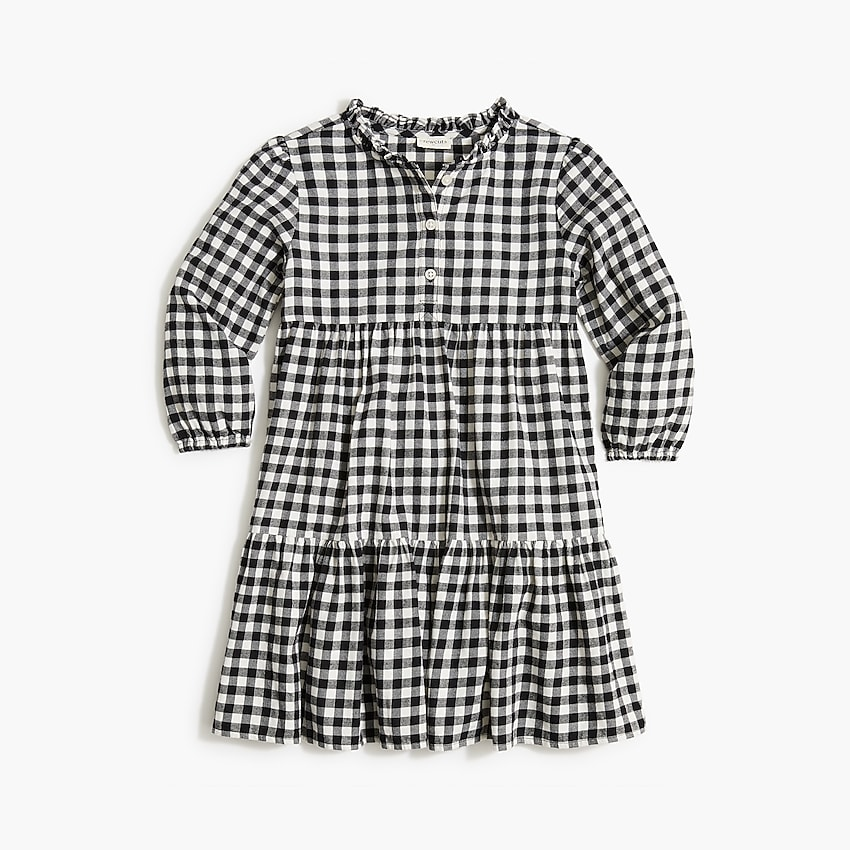 factory: girls' black-and-white check flannel dress for girls, right side, view zoomed