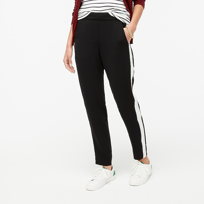factory: jamie tuxedo stripe pant with elastic waist for women, right side, view zoomed