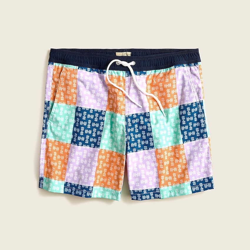 """j.crew: 6"""" stretch swim trunk in patchwork for men, right side, view zoomed"""