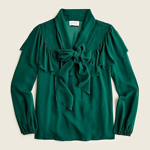 womens Tie-neck silk chiffon top