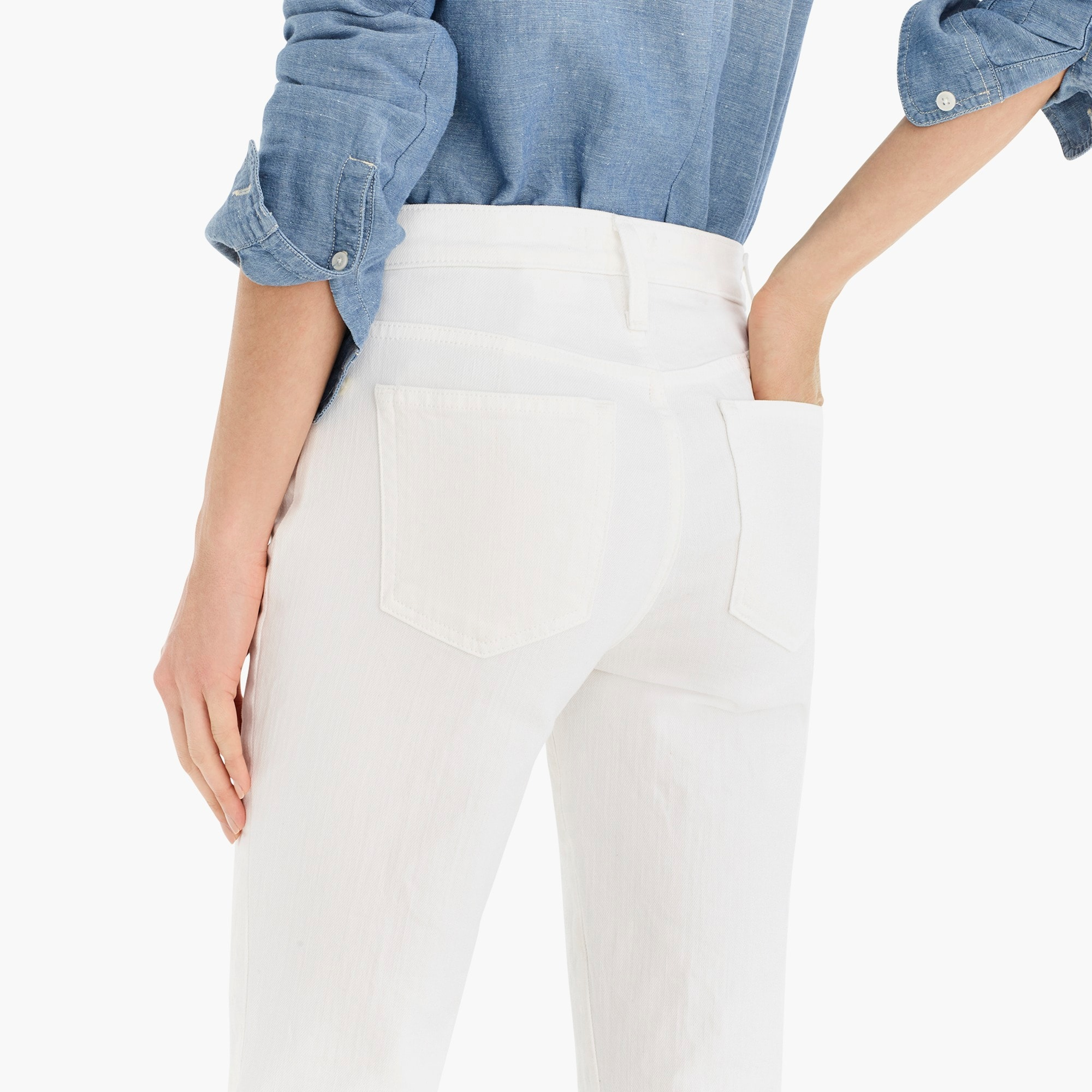 Petite slim broken-in boyfriend jean in white