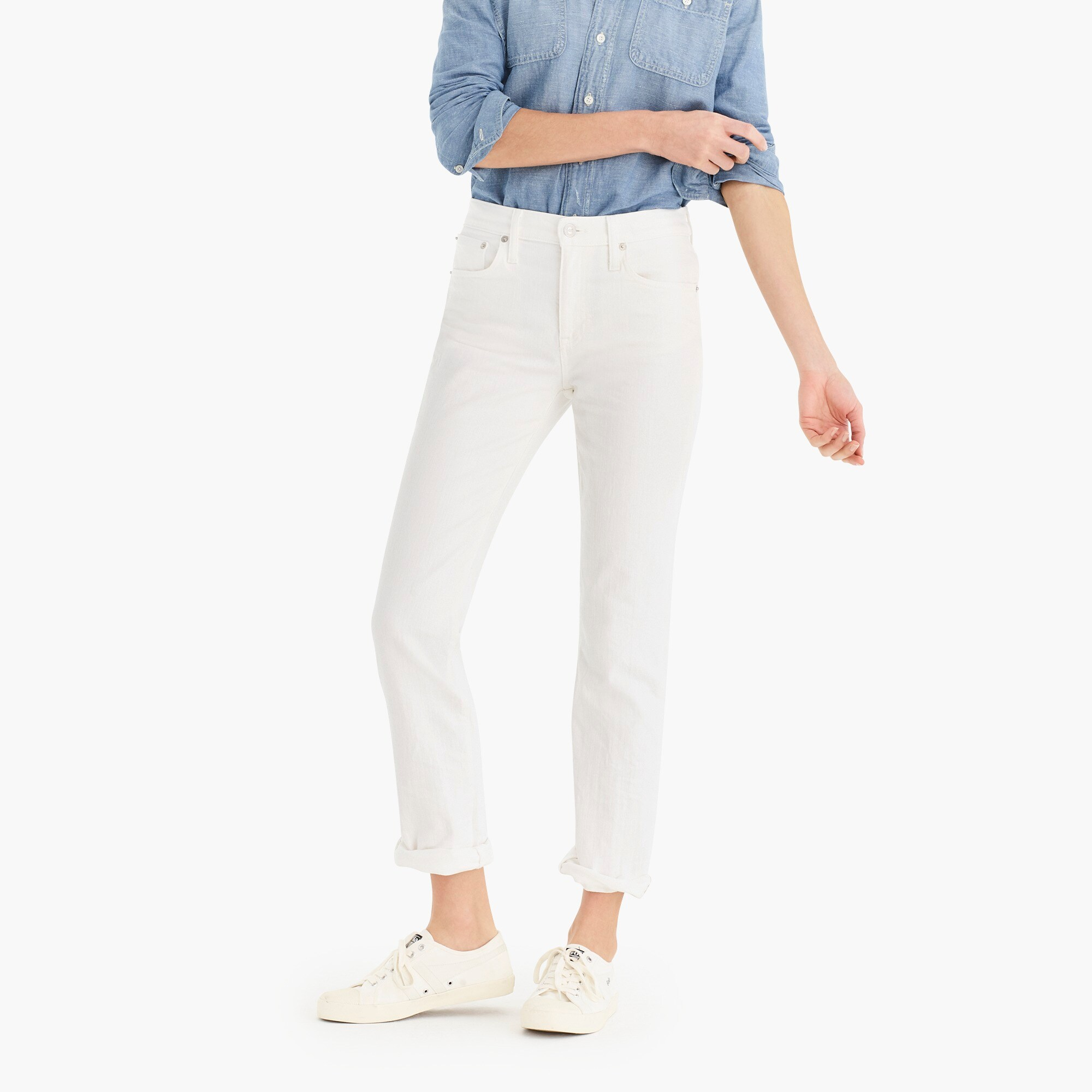 Tall slim broken-in boyfriend jean in white