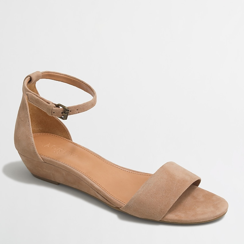 factory: suede demi-wedge sandals for women, right side, view zoomed