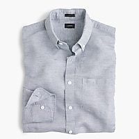 Slim Irish cotton-linen shirt in solid