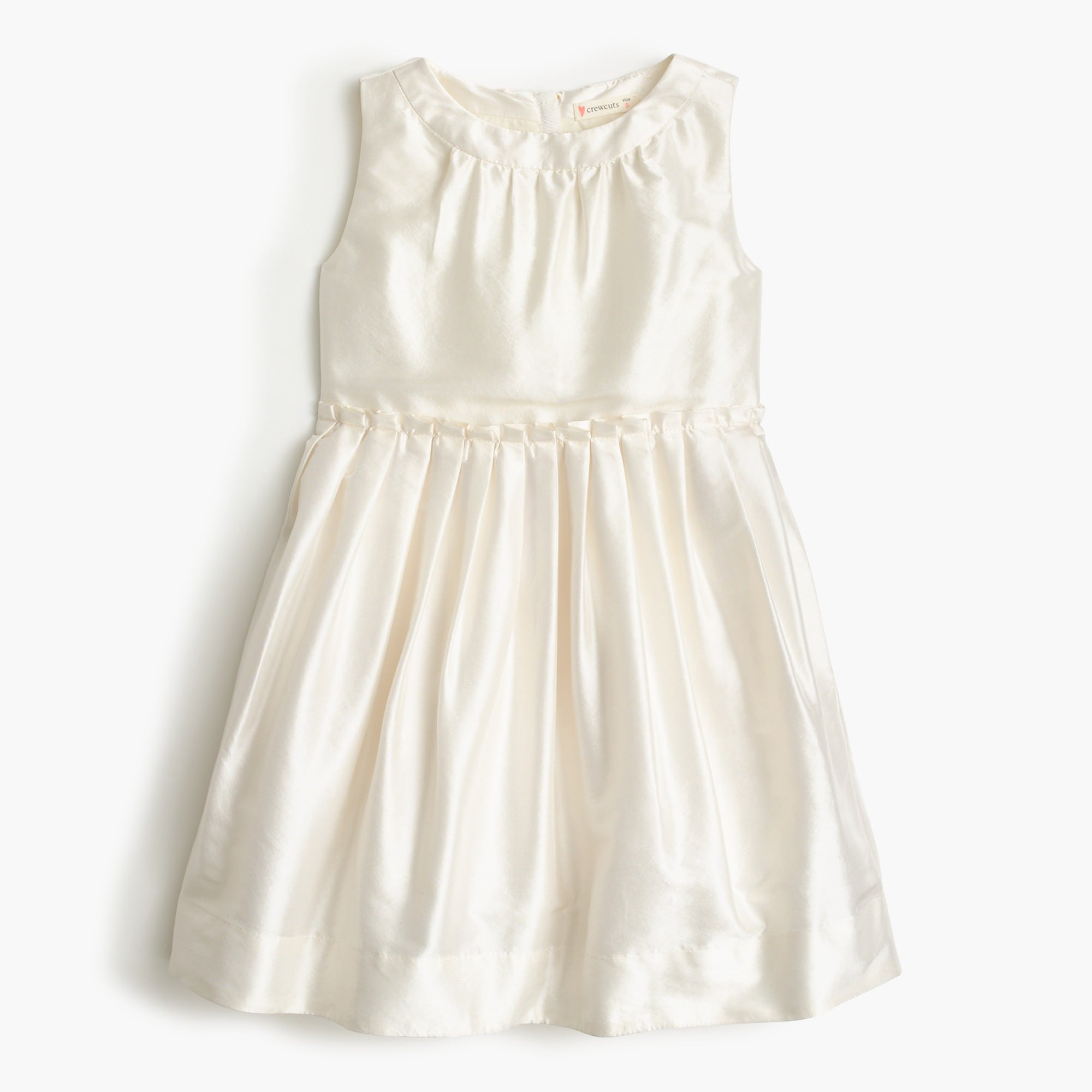 girls' pleated dress in silk dupioni - girls' dresses