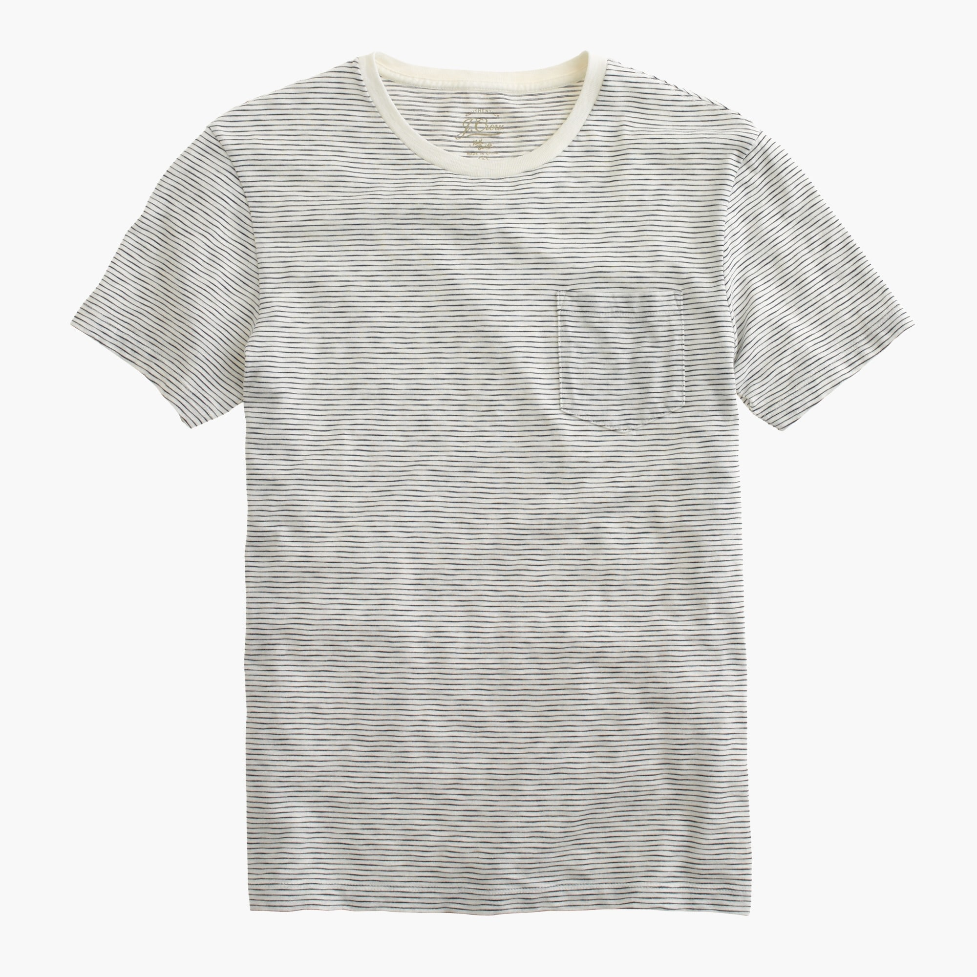 Image 2 for Slub cotton textured pocket T-shirt in wavy stripe