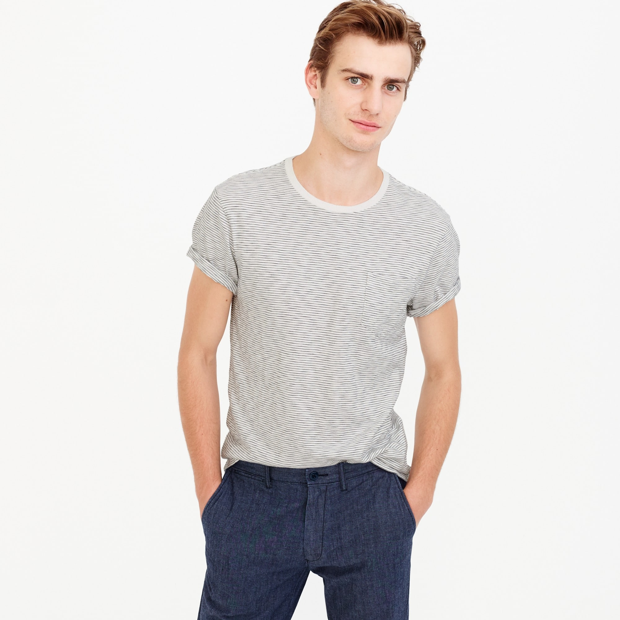 Slub cotton textured pocket T-shirt in wavy stripe men stock-up shop c