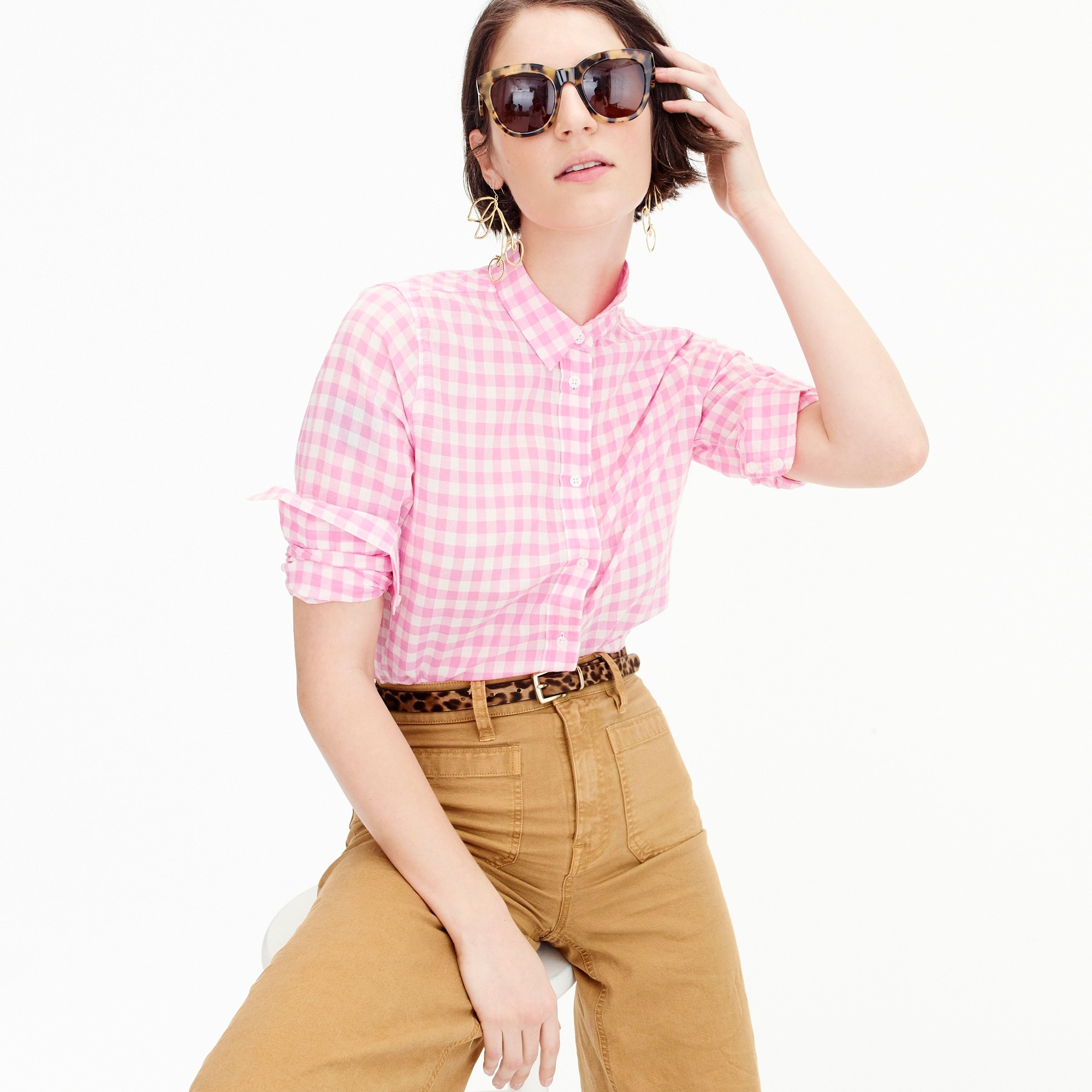 women's relaxed boy shirt in crinkle gingham - women's shirts
