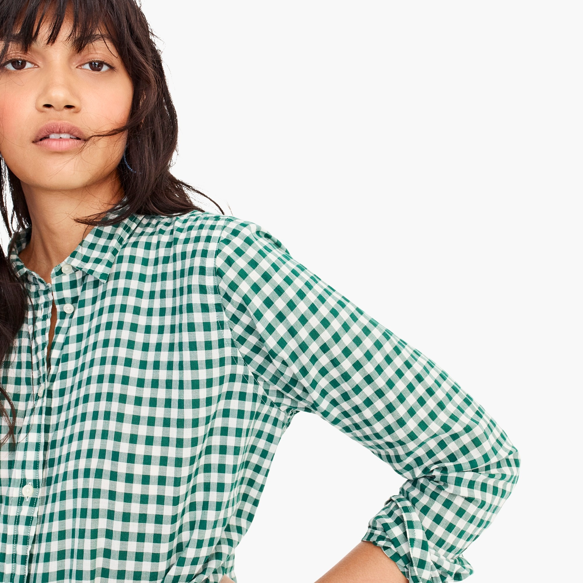Classic-fit boy shirt in crinkle gingham