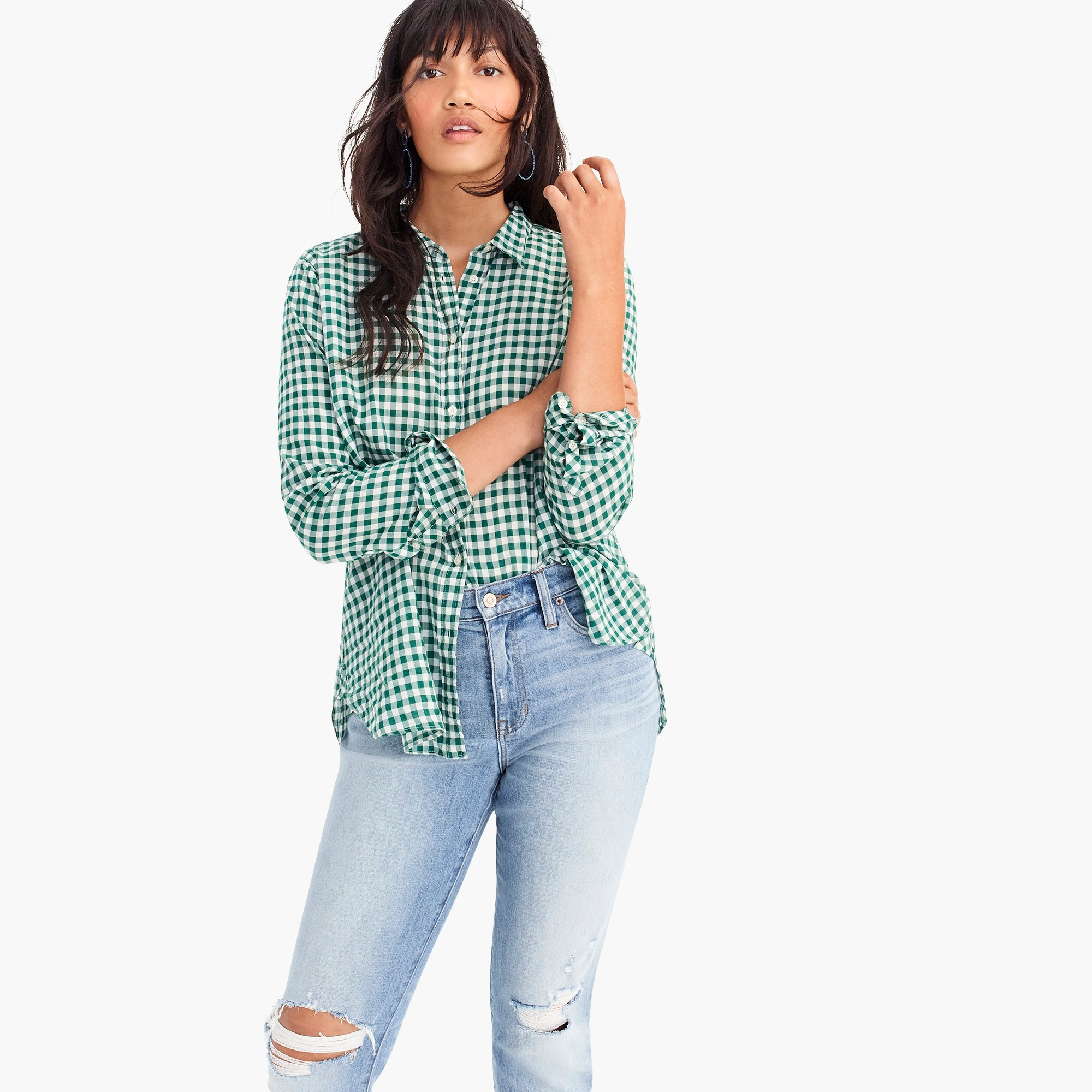 women's petite relaxed boy shirt in crinkle gingham - women's shirts