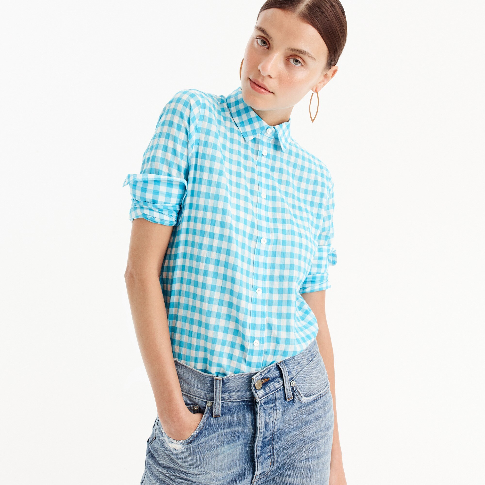 Petite relaxed boy shirt in crinkle gingham women petite c