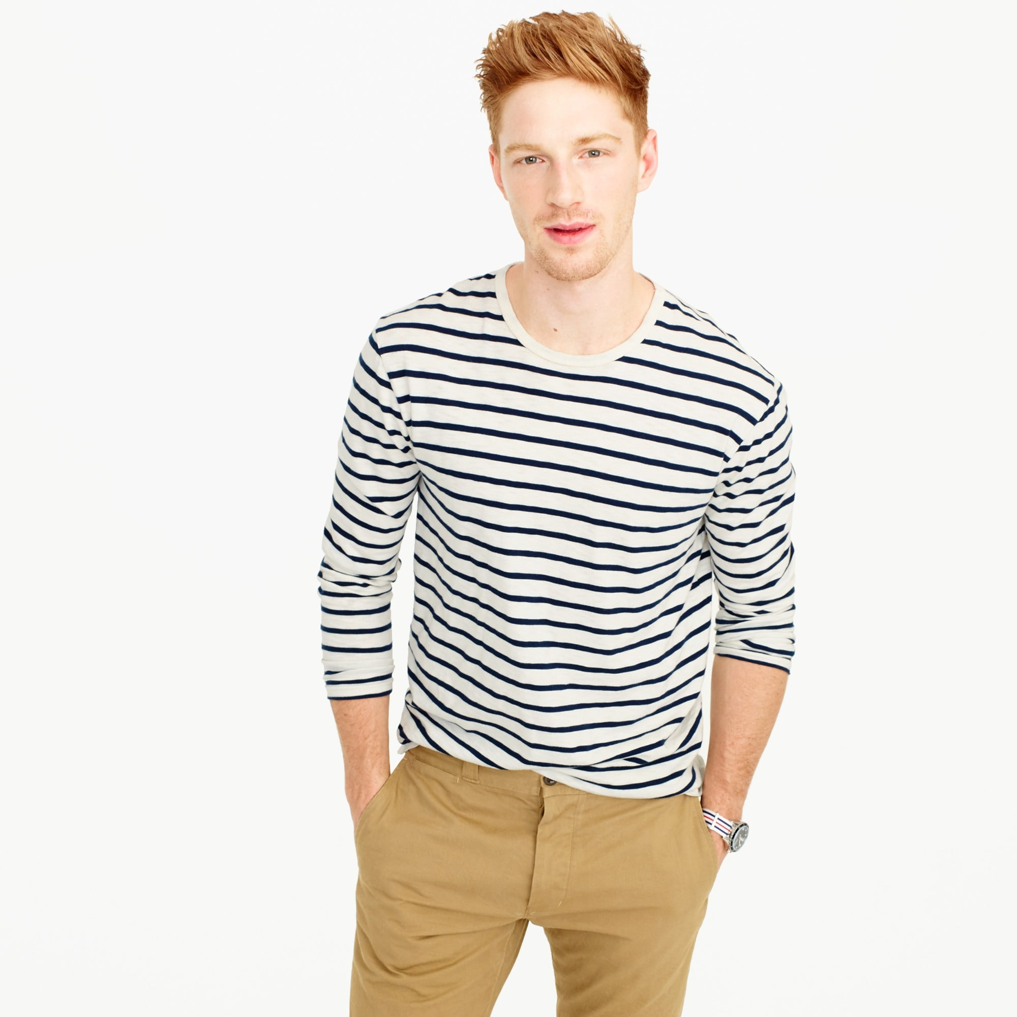 Long-sleeve deck-striped T-shirt
