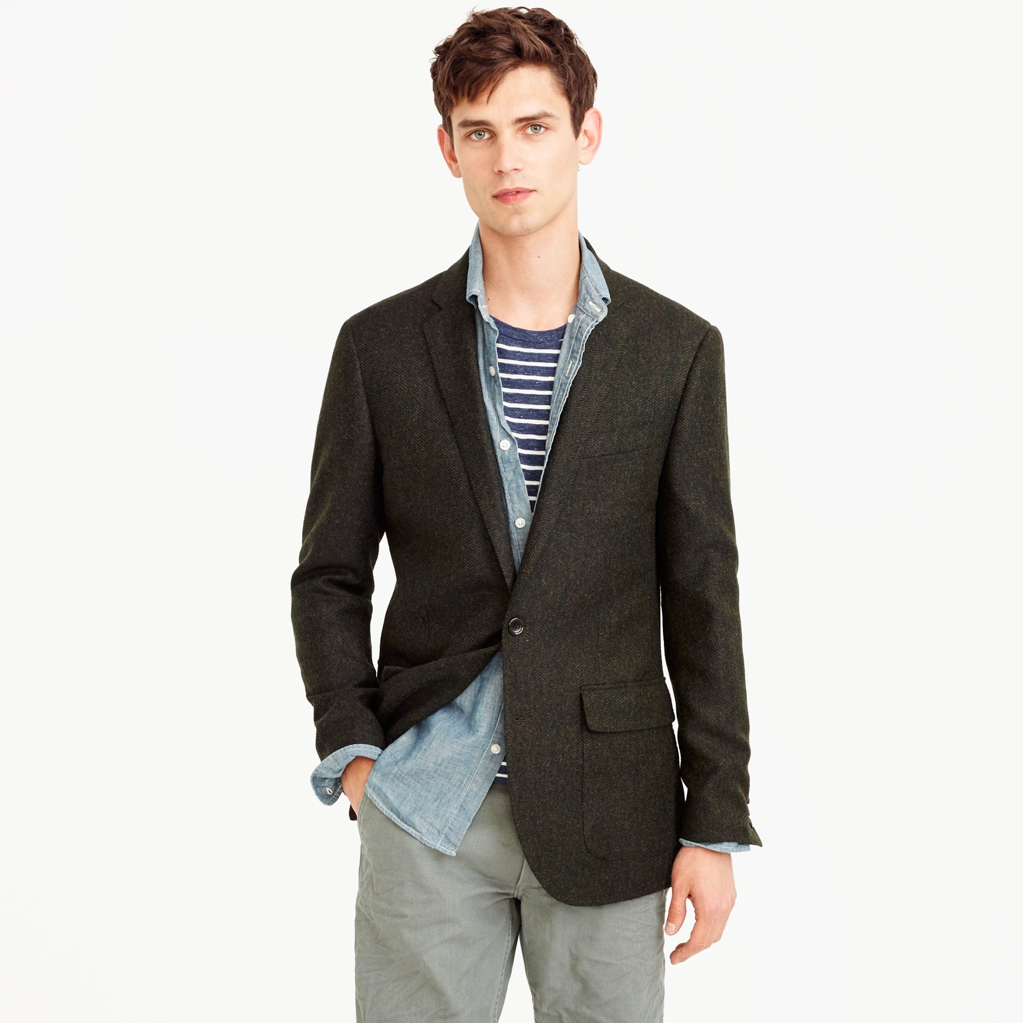 Ludlow blazer in herringbone English tweed men blazers & vests c