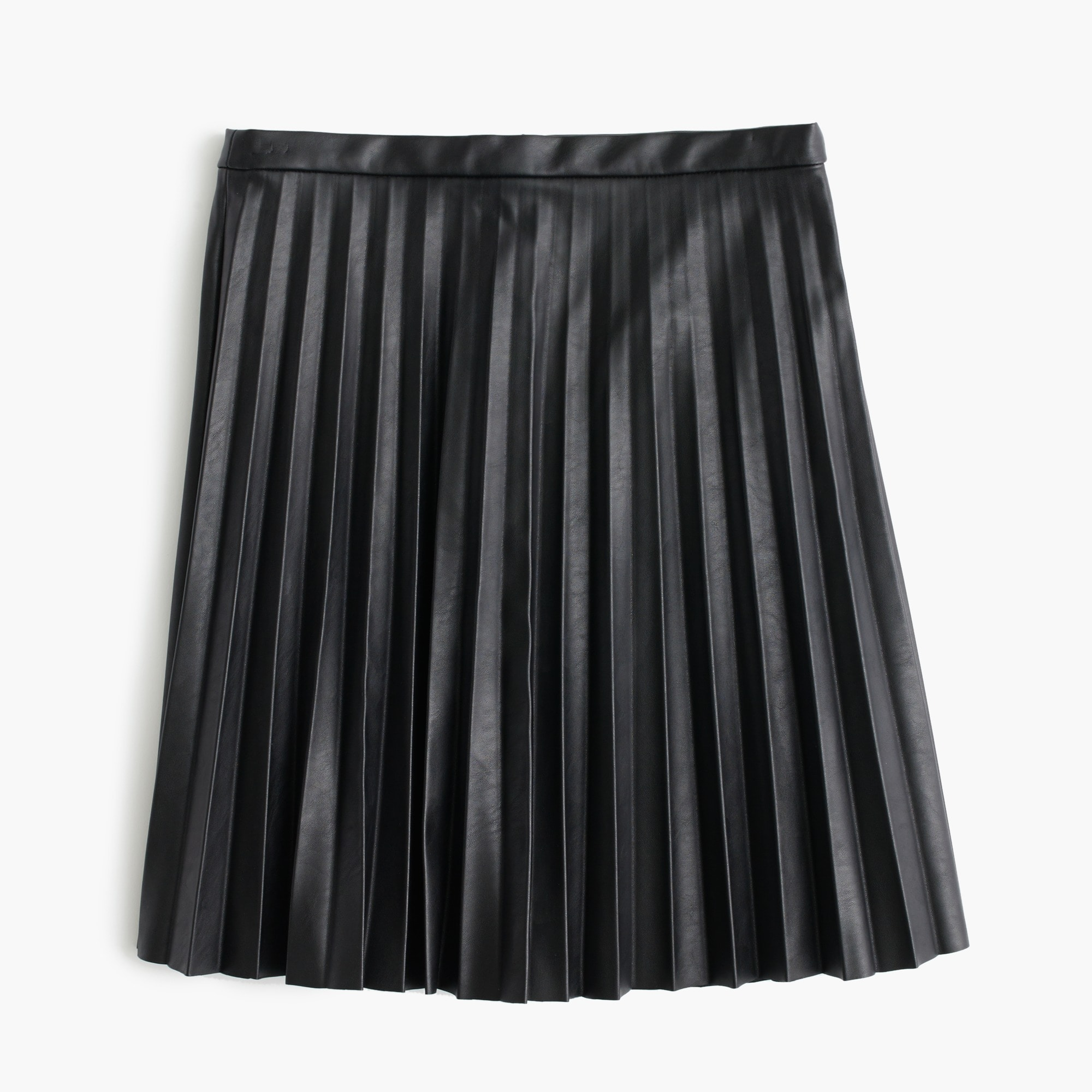 Image 2 for Petite faux-leather pleated mini skirt