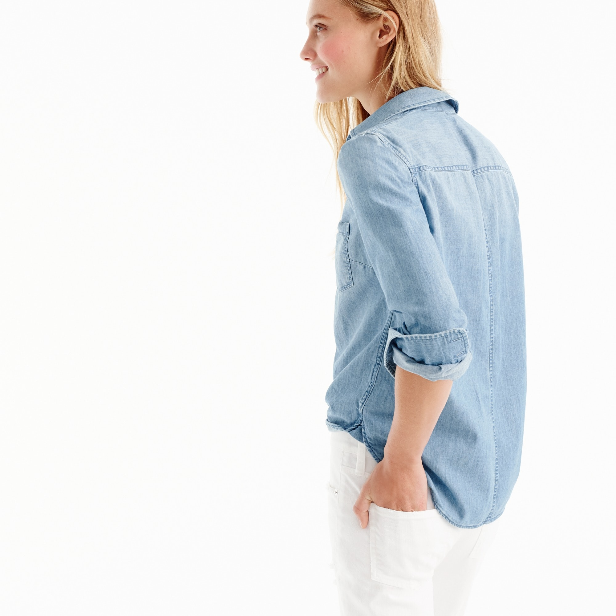 Image 3 for Petite always chambray shirt