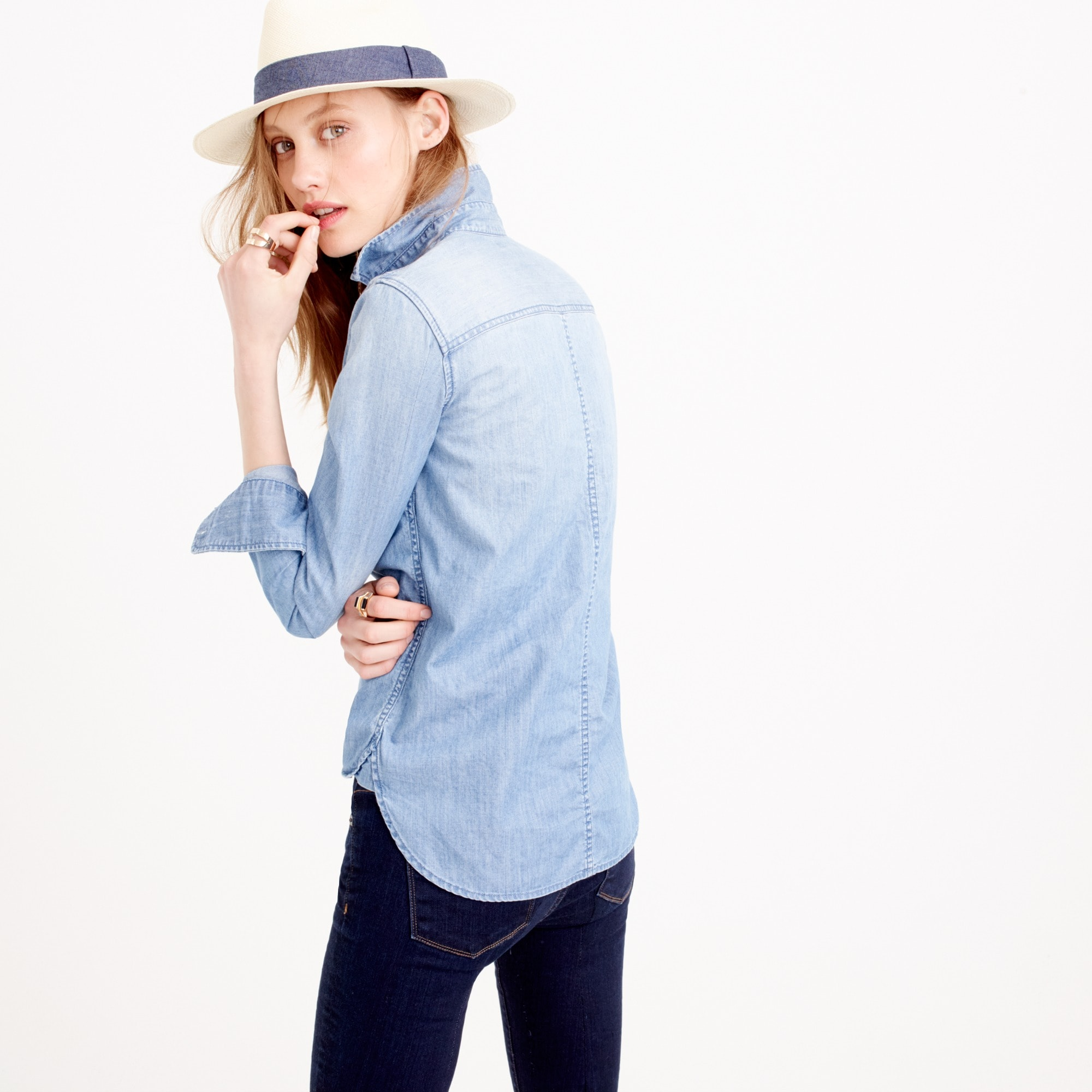 Image 4 for Petite always chambray shirt