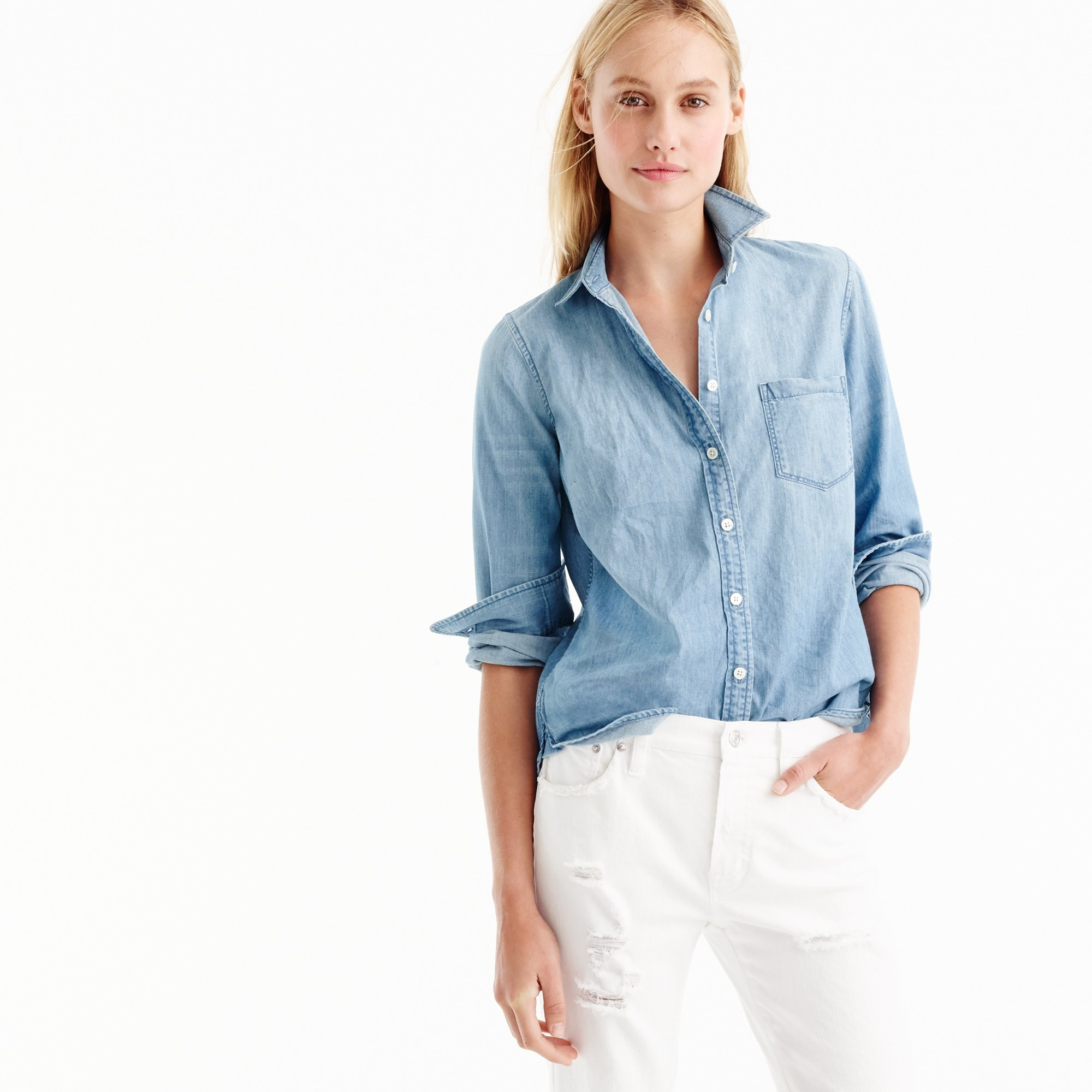 Petite always chambray shirt