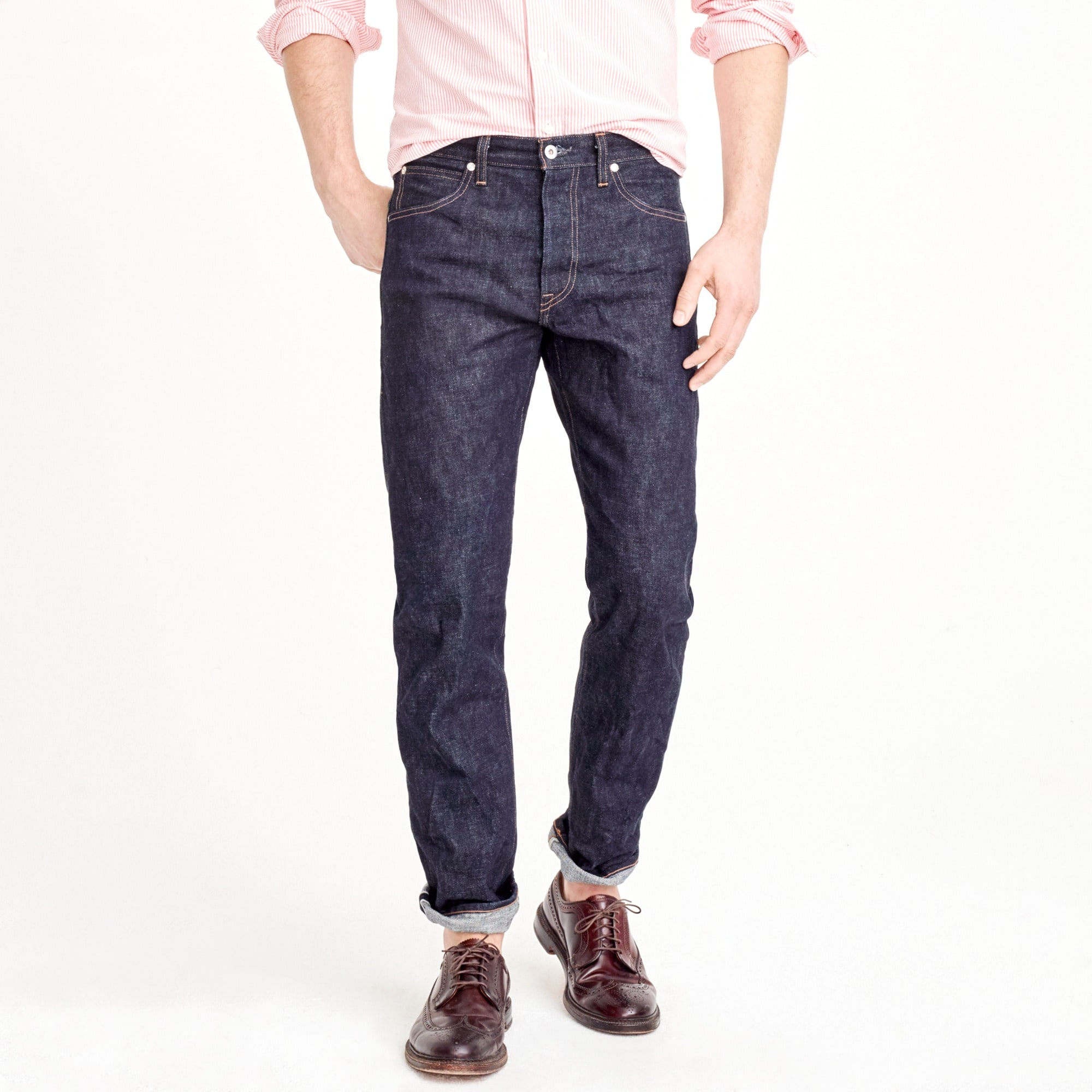men's wallace & barnes straight fit jean in indigo raw selvedge