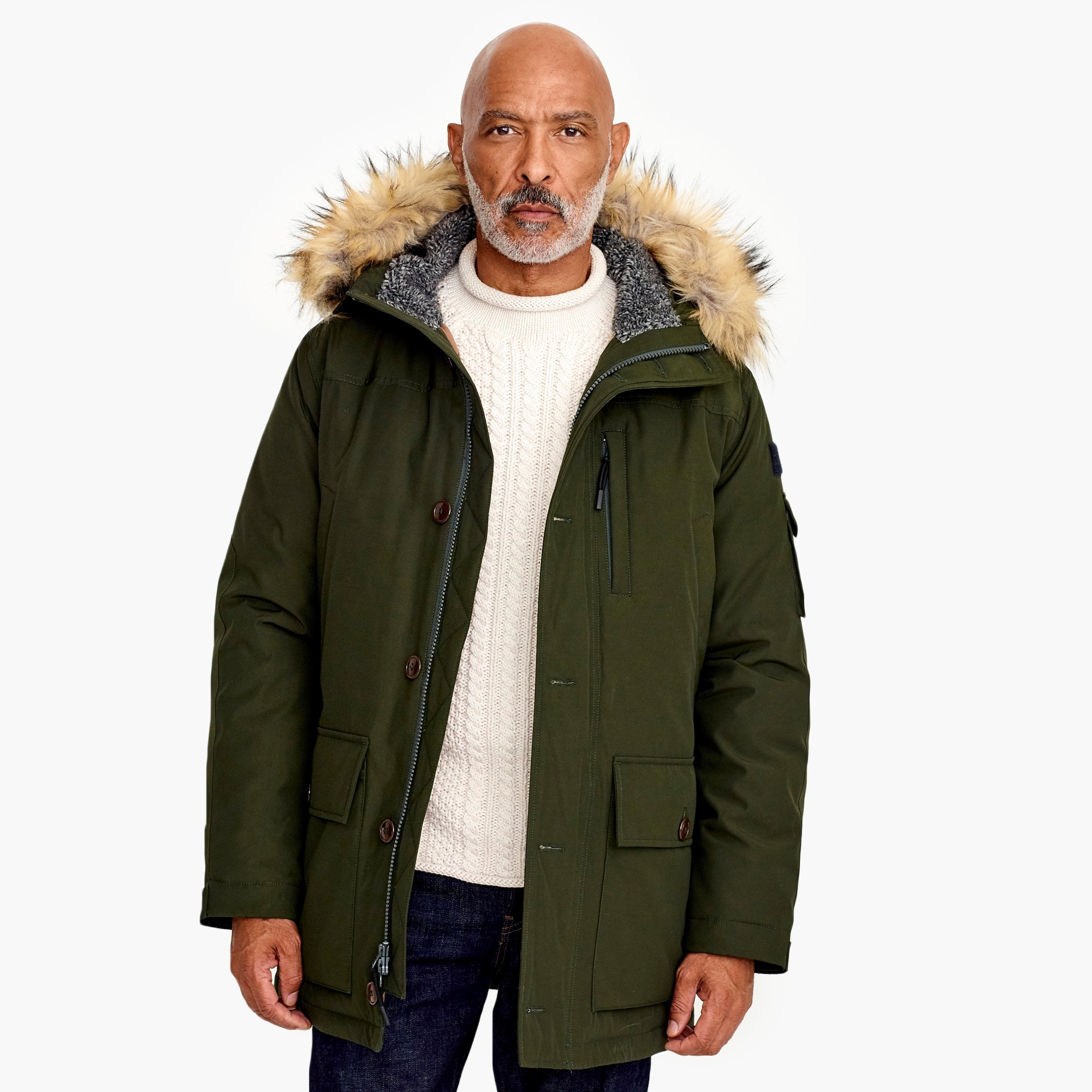 mens Nordic down parka with eco-friendly Primaloft®