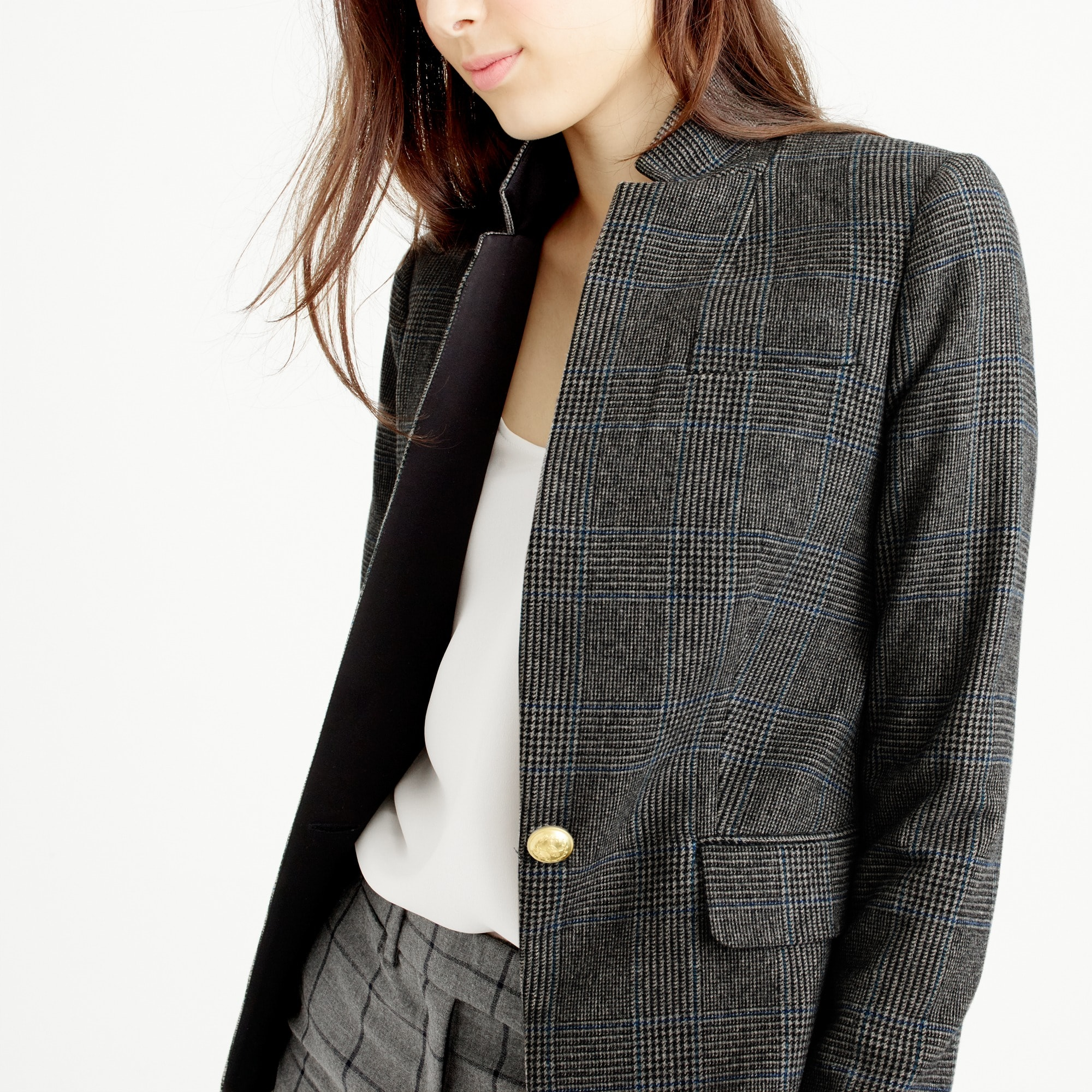 Black plaid Regent blazer with satin lapel
