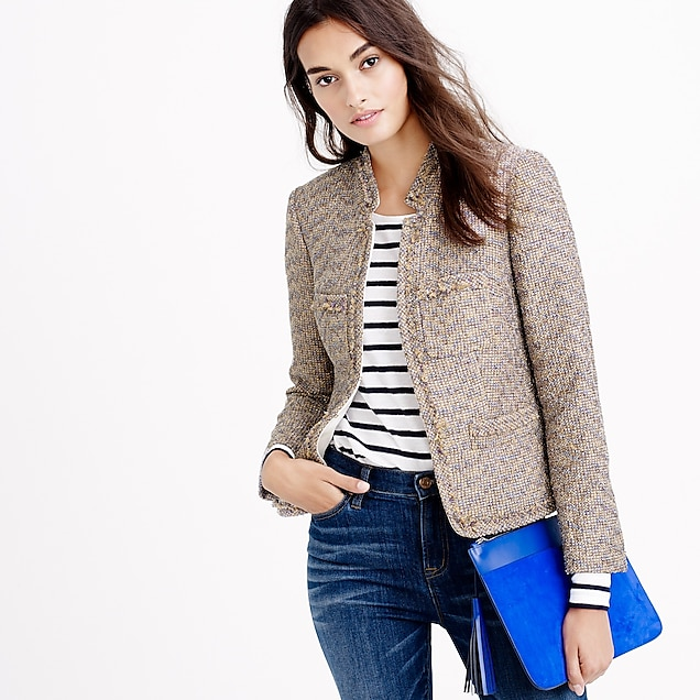 Colorful metallic tweed jacket with front pockets