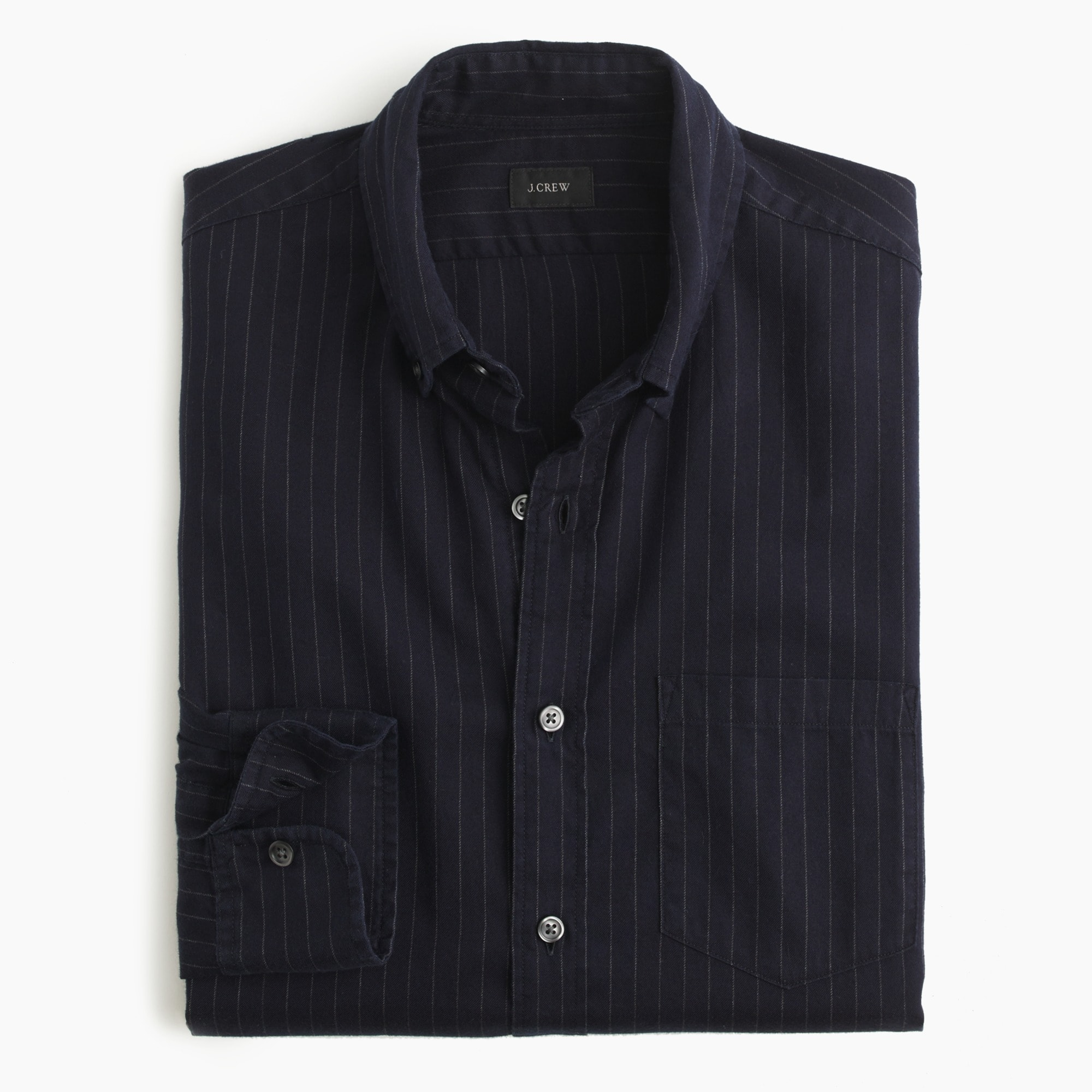 Brushed heather twill shirt in pinstripe