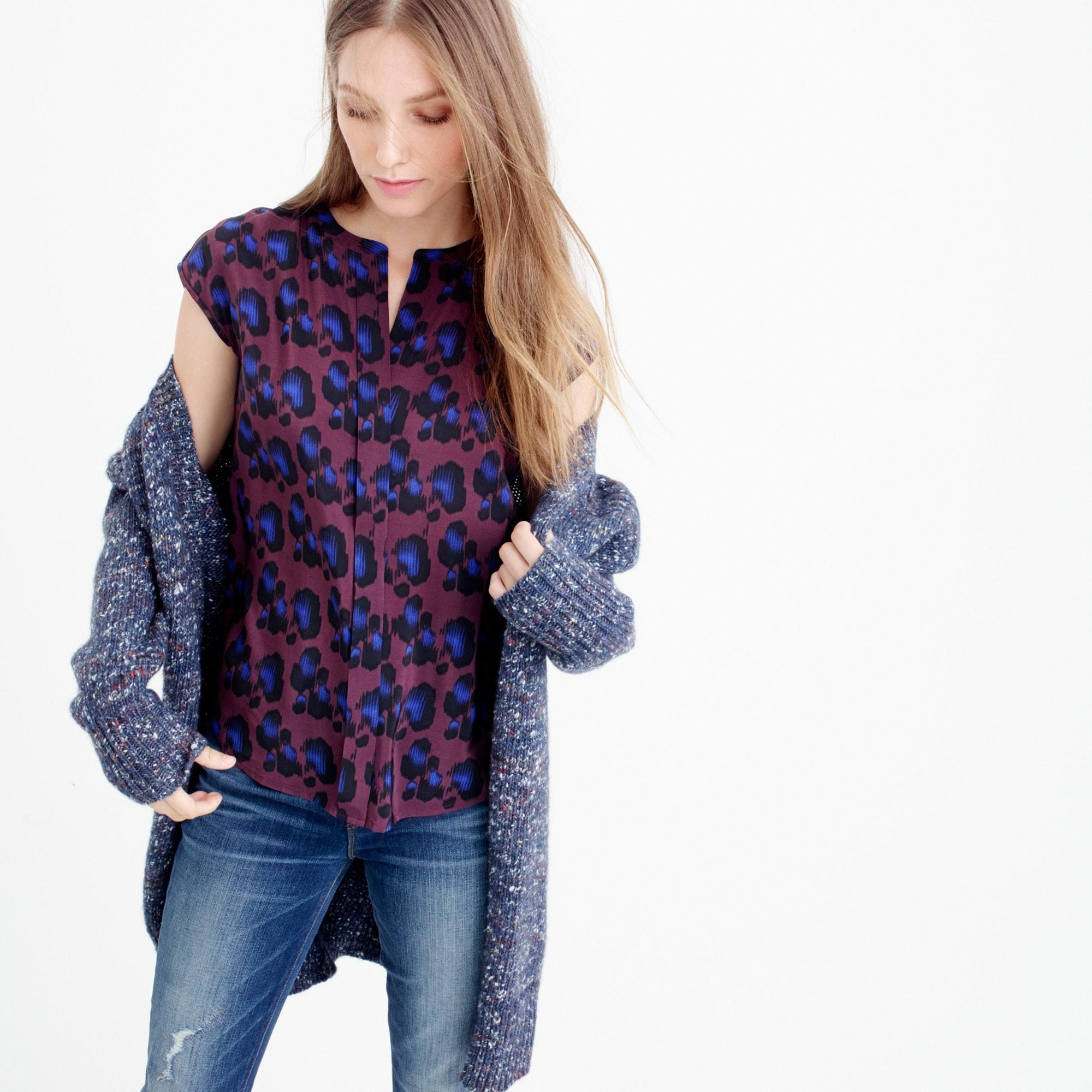 Petite silk blouse in cobalt leopard