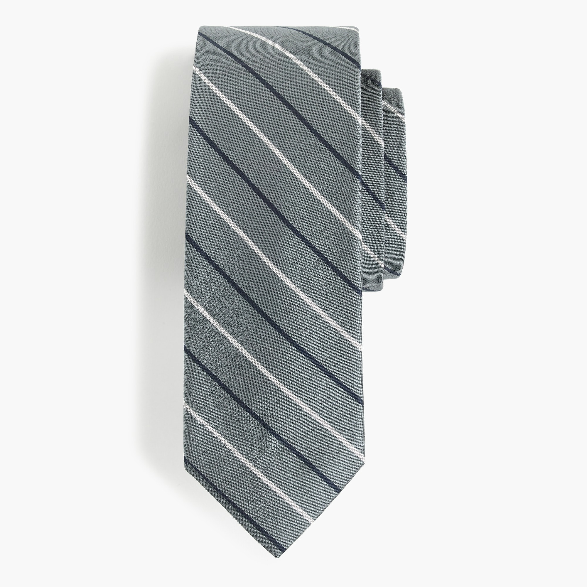 Image 1 for English silk tie in two-color stripe