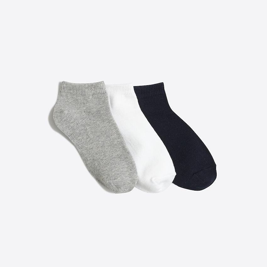 j.crew factory: kids' ankle socks three-pack for girls, right side, view zoomed