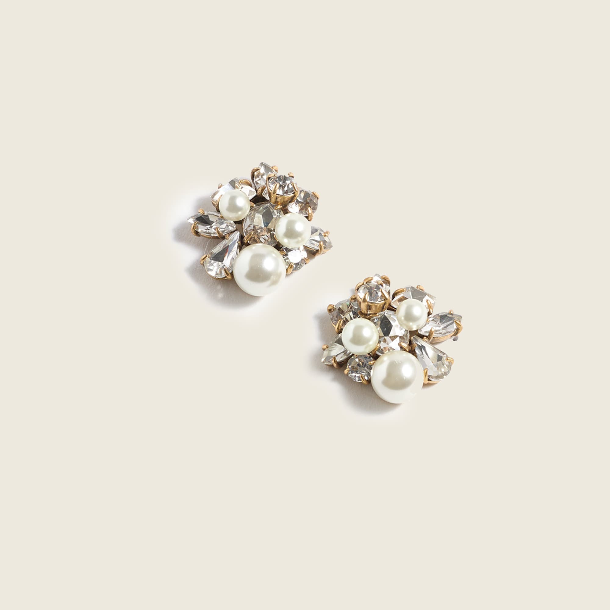 womens Pearl and crystal earrings