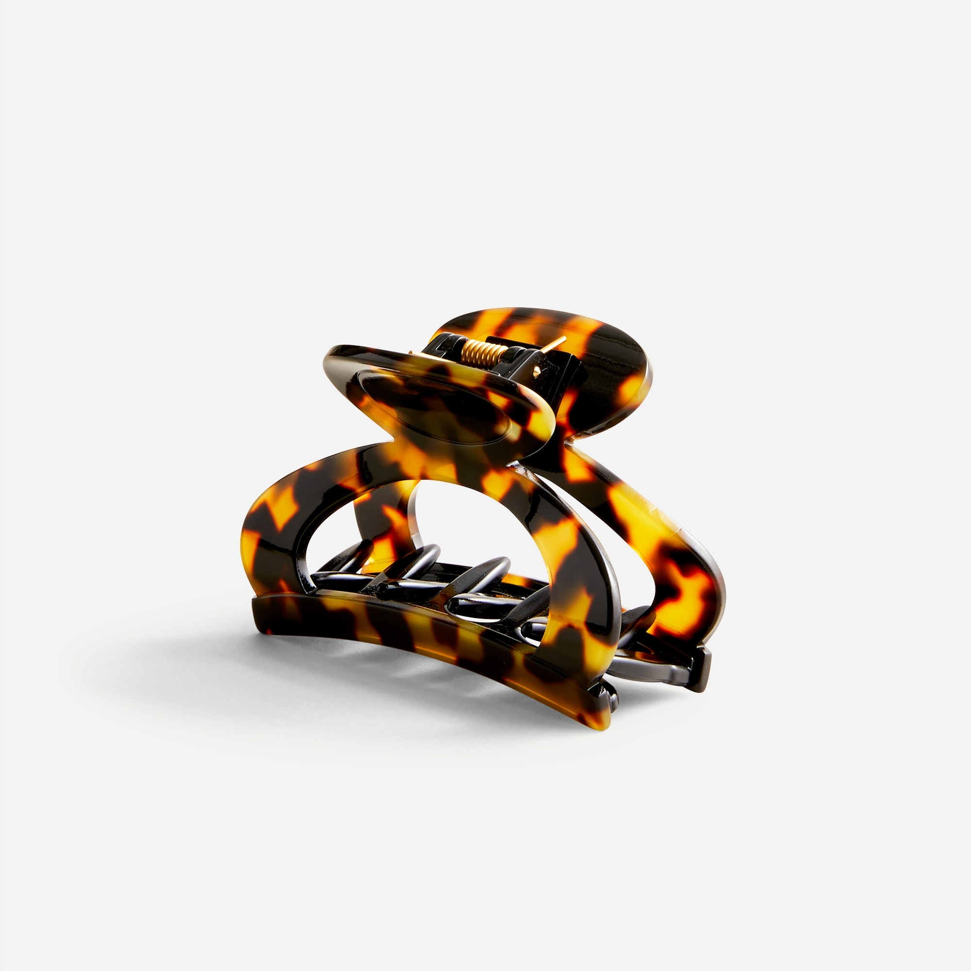 Rounded open-sided hair clip in Italian tortoise